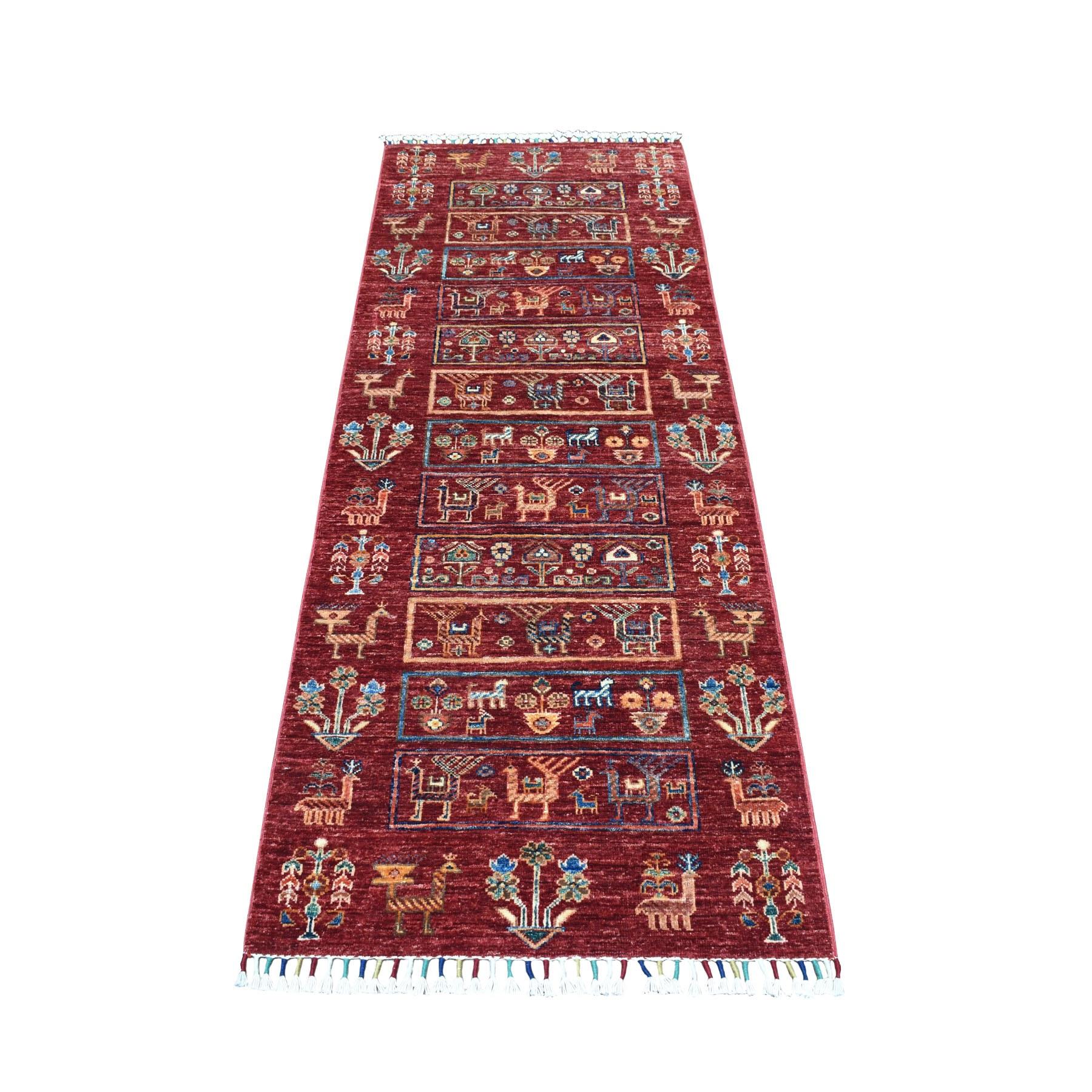 """2'6""""x6'10"""" Khorjin Design Red Super Kazak With Animals Pure Wool Runner  Hand Knotted Oriental Rug"""
