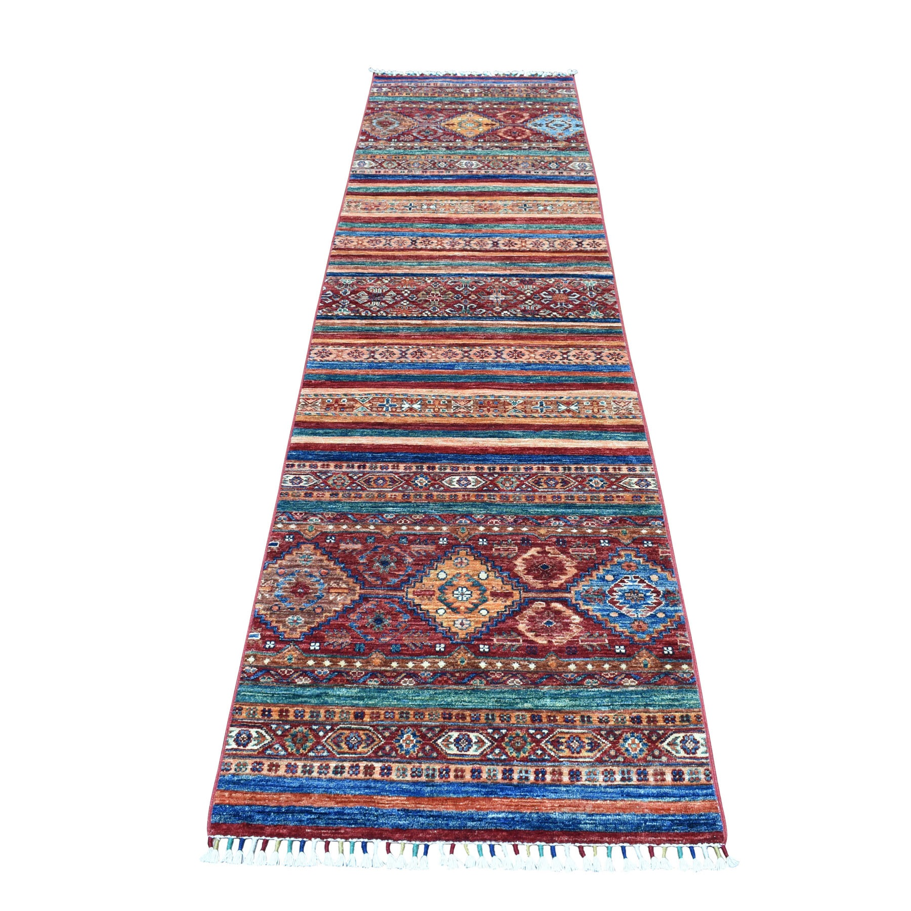 "2'7""X10'2"" Khorjin Design Colorful Super Kazak Pure Wool Runner  Hand Knotted Oriental Rug moaeb060"