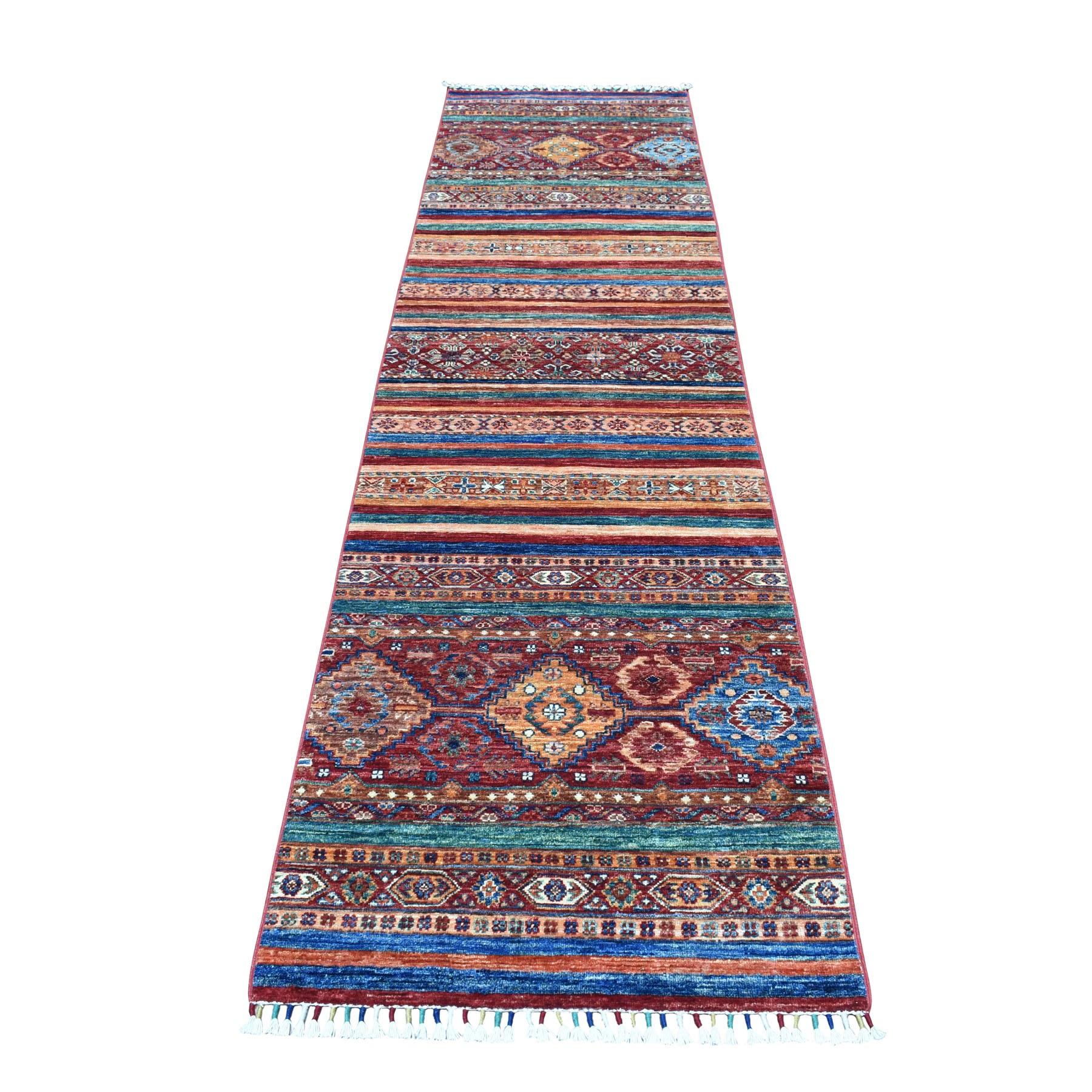 "2'7""x10'2"" Khorjin Design Colorful Super Kazak Pure Wool Runner  Hand Knotted Oriental Rug"