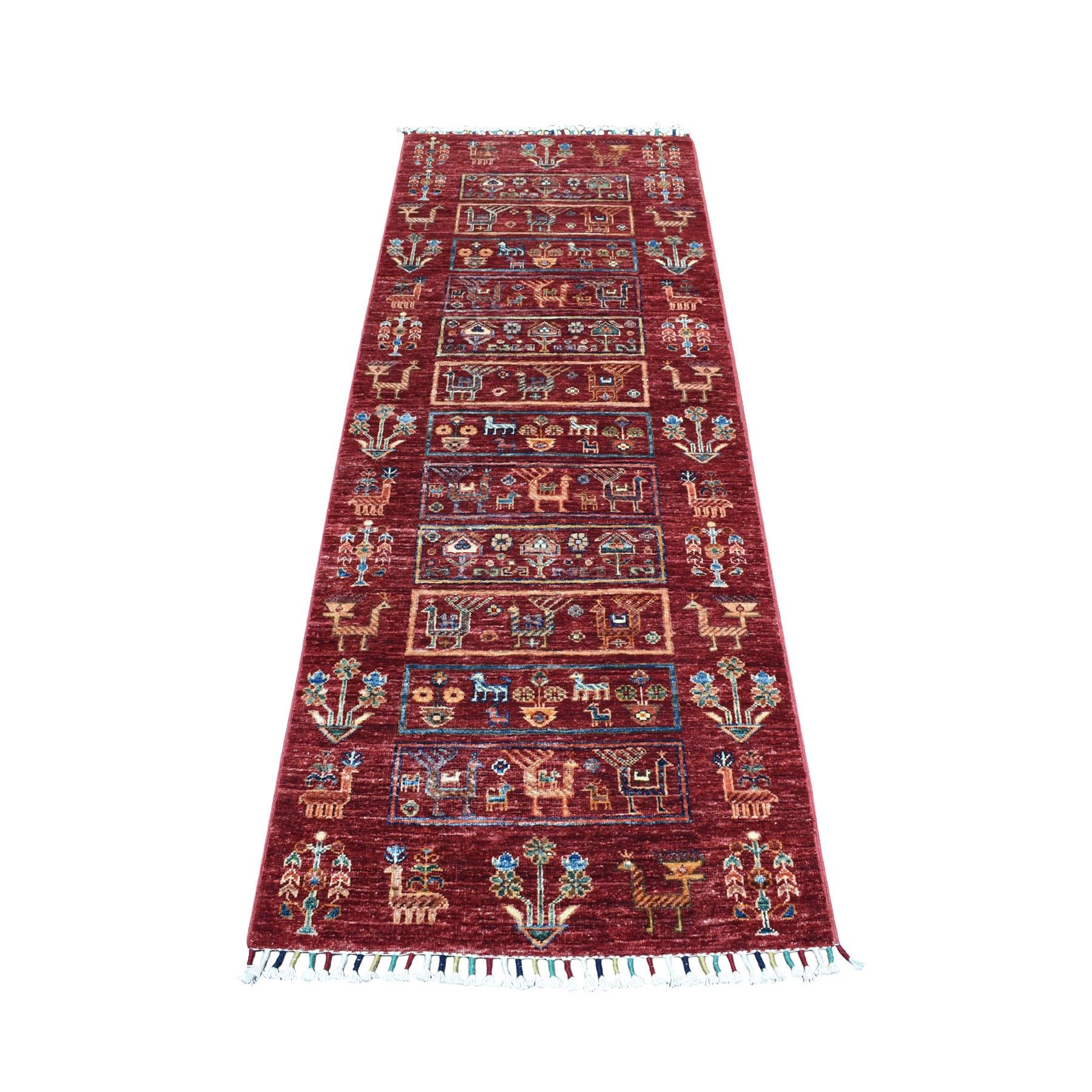 """2'5""""x6'10"""" Khorjin Design Red Super Kazak With Animals Runner Pure Wool Hand Knotted Oriental Rug"""