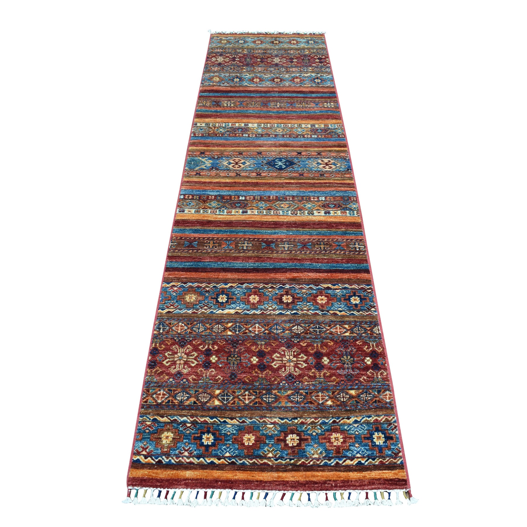 "2'4""x9'8"" Khorjin Design Colorful Super Kazak Pure Wool Narrow Runner  Hand Knotted Oriental Rug"
