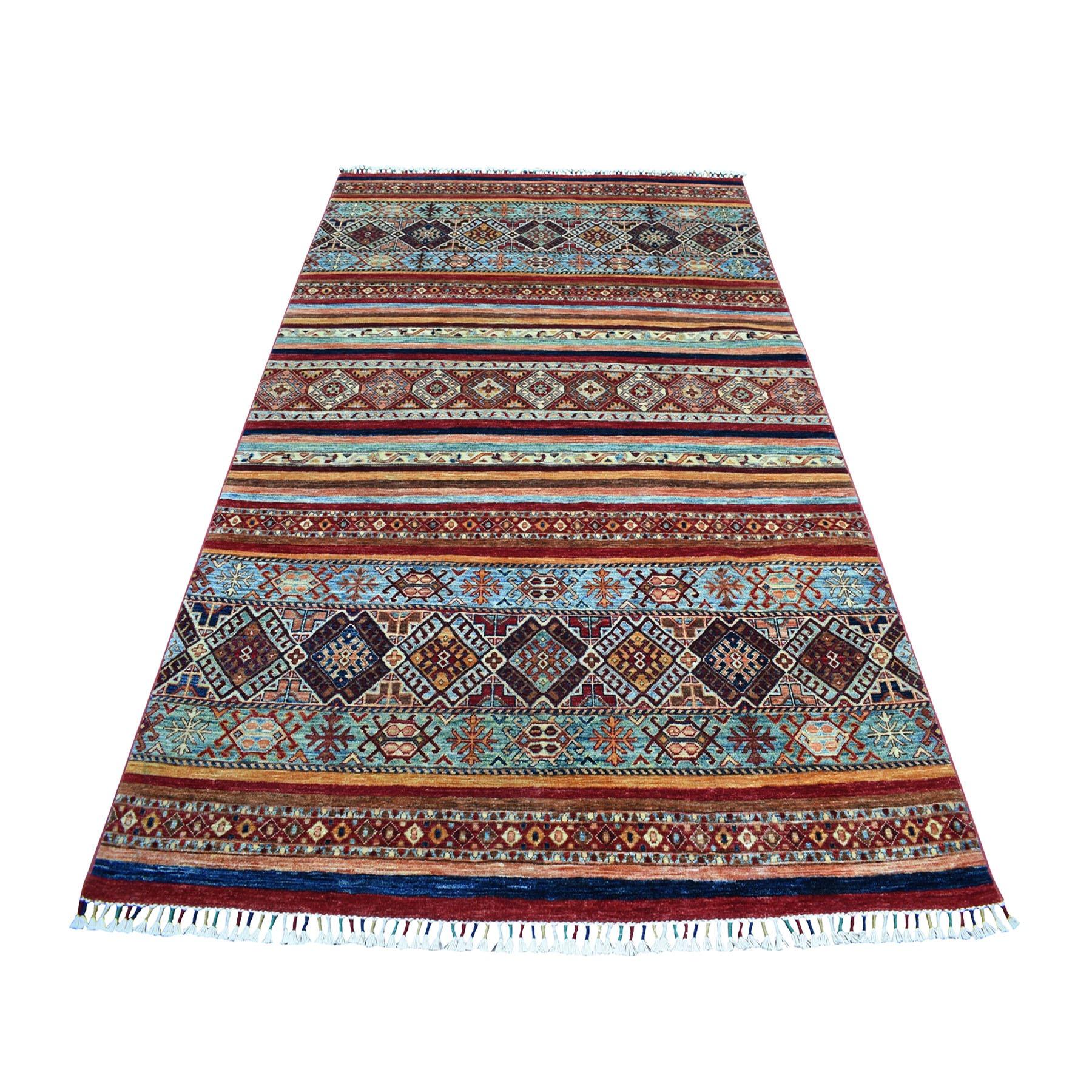 "5'6""X8'7"" Khorjin Design Colorful Super Kazak Pure Wool Hand Knotted Oriental Rug moaeb06e"