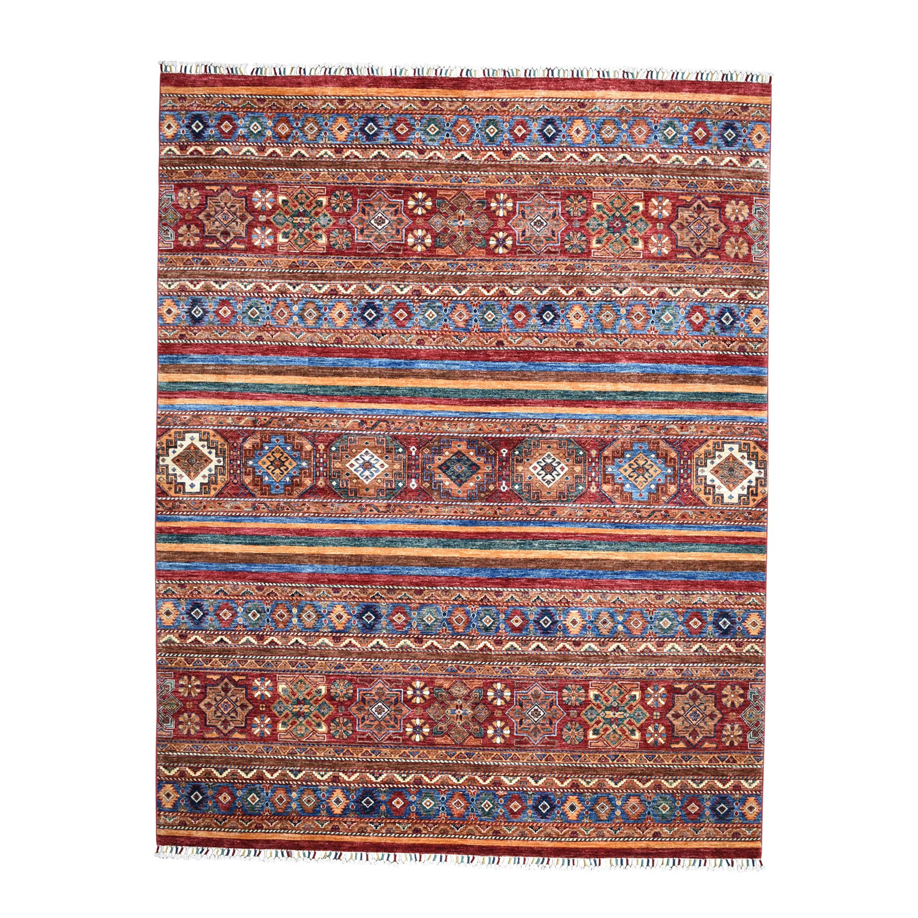 "8'1""X10' Khorjin Design Colorful Super Kazak Pure Wool Hand Knotted Oriental Rug moaeb070"