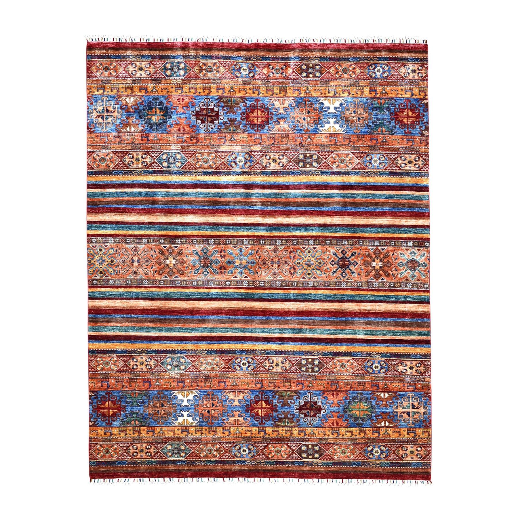 "8'1""X9'5"" Khorjin Design Colorful Super Kazak Pure Wool Hand Knotted Oriental Rug moaeb07b"