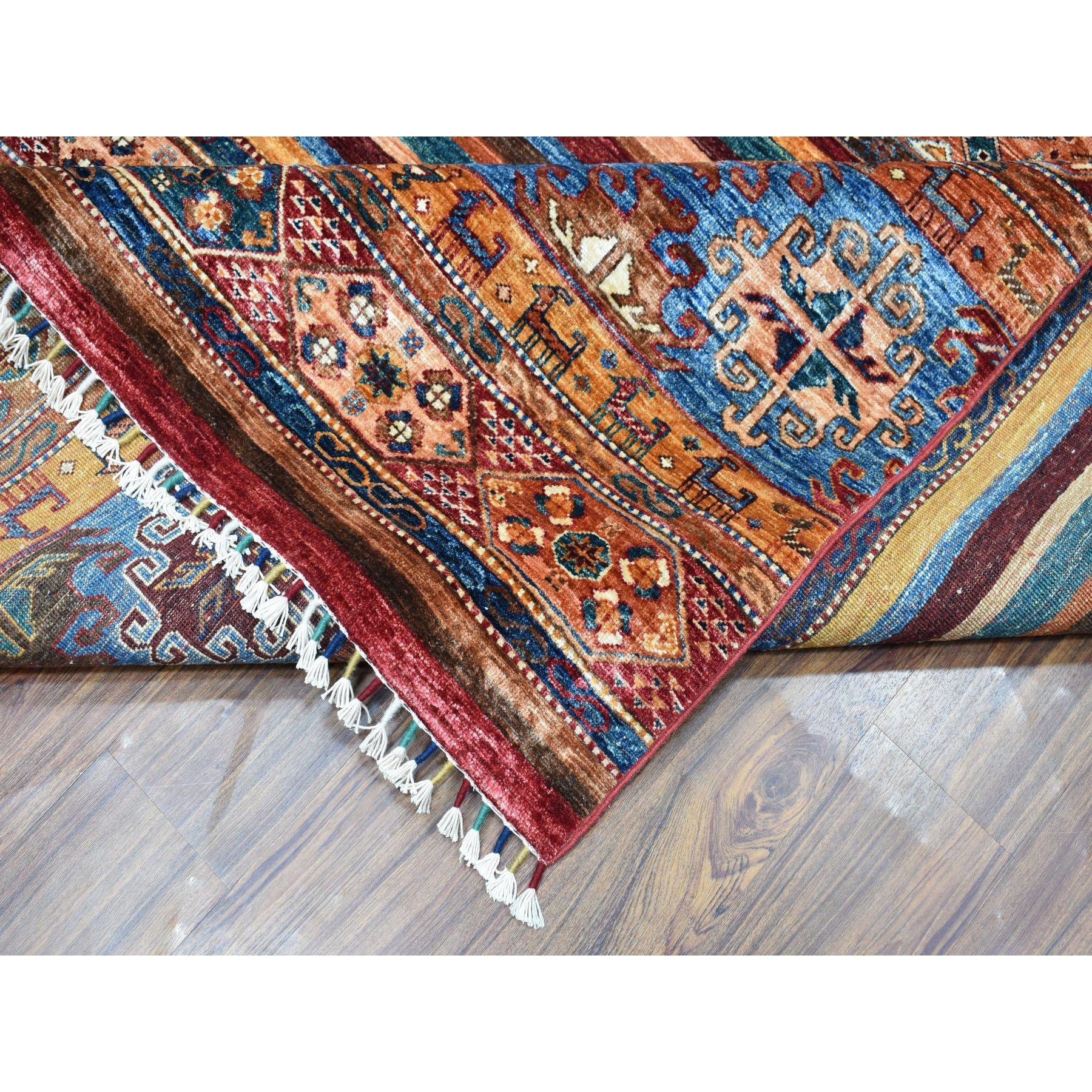 "8'1""x9'5"" Khorjin Design Colorful Super Kazak Pure Wool Hand Knotted Oriental Rug"