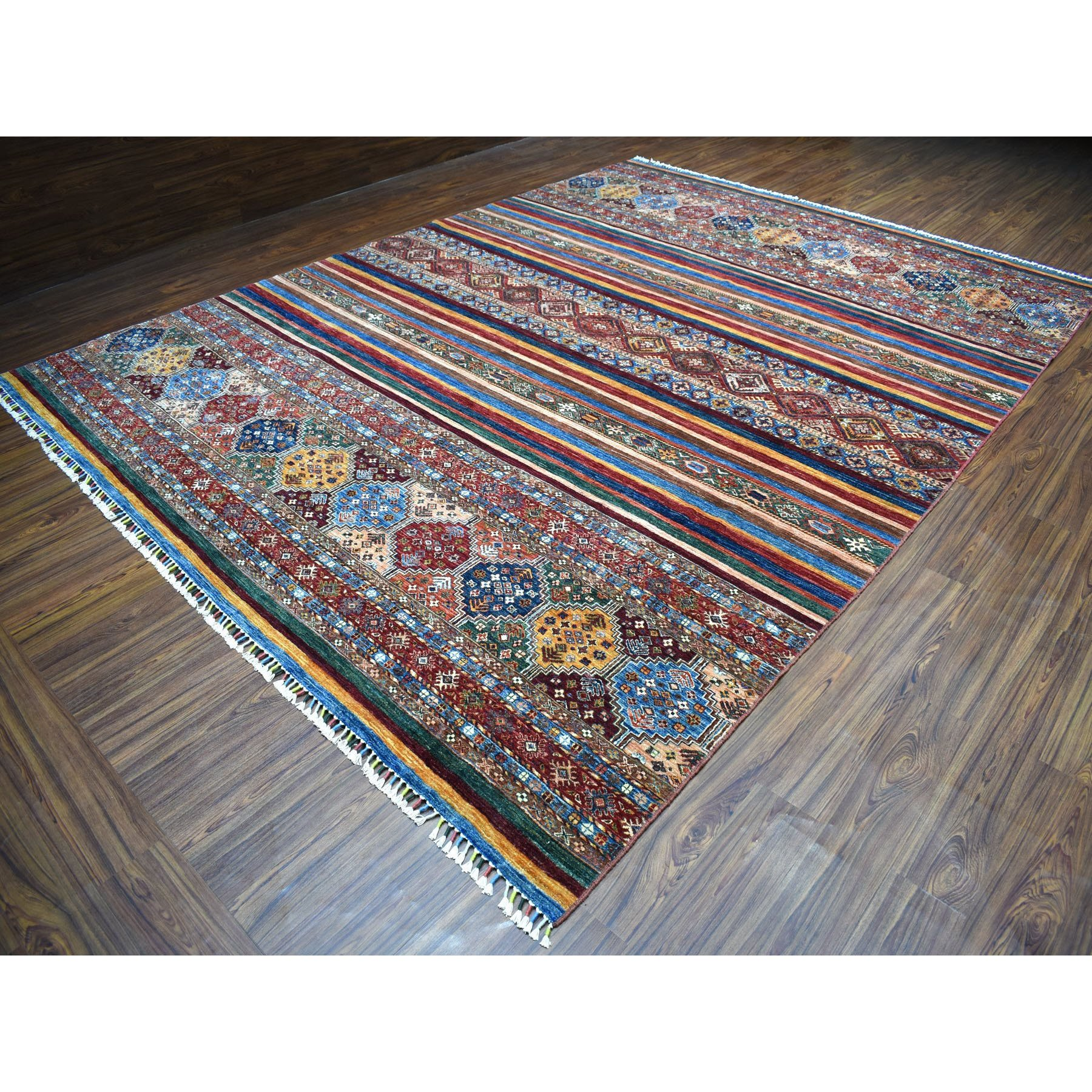 "10'x13'3"" Khorjin Design Colorful Super Kazak Pure Wool Hand Knotted Oriental Rug"
