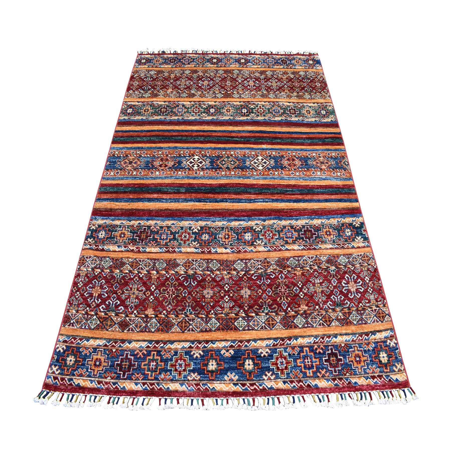 "4'8""X7' Khorjin Design Colorful Super Kazak Pure Wool Hand Knotted Oriental Rug moaeb08e"