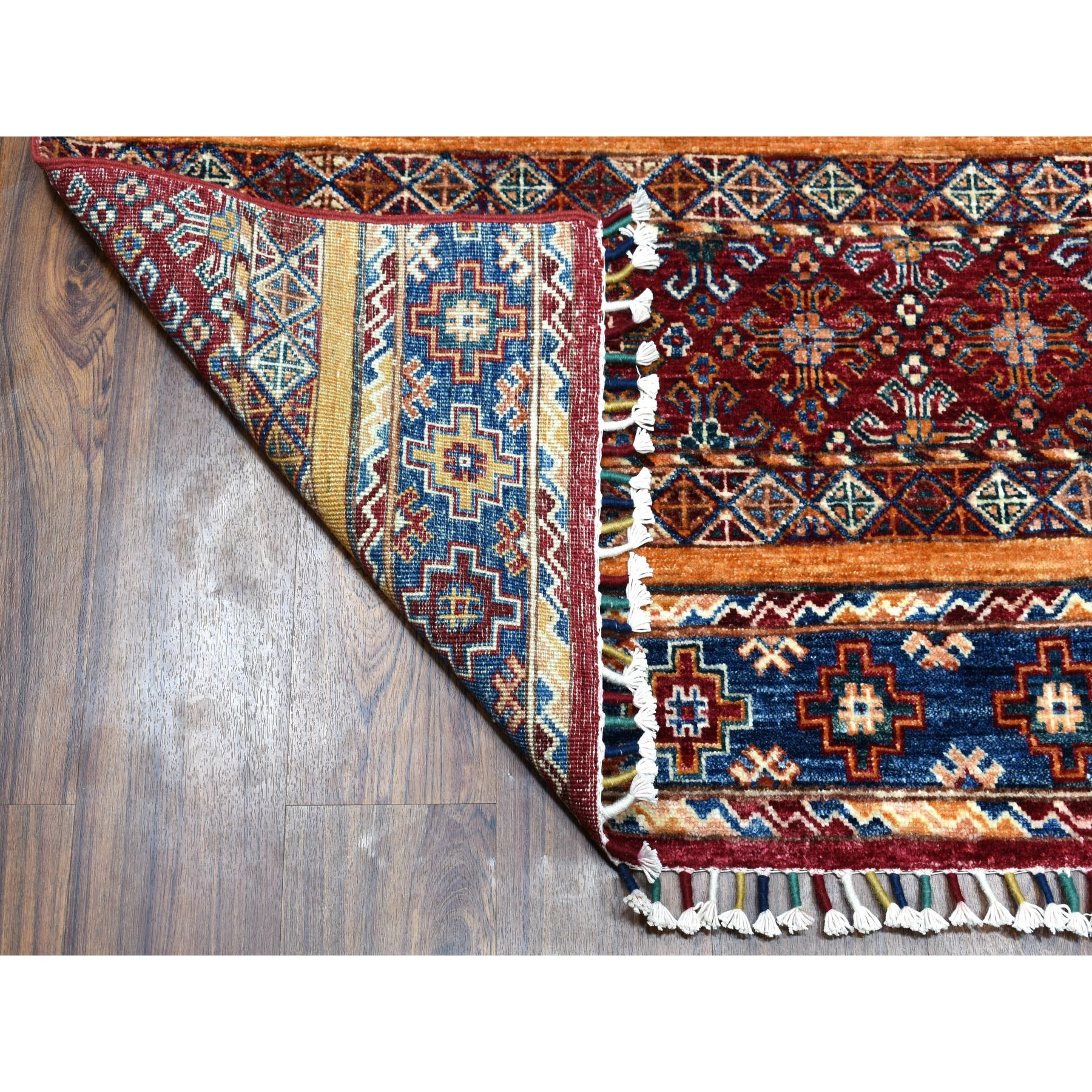 4-8 x7- Khorjin Design Colorful Super Kazak Pure Wool Hand Knotted Oriental Rug