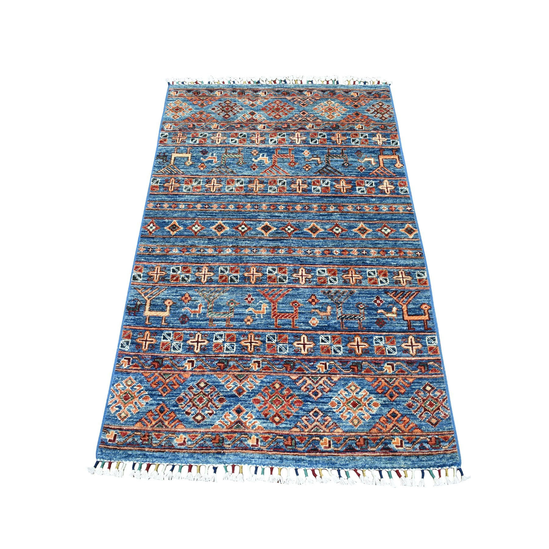 "3'X4'8"" Khorjin Design Blue Super Kazak With Animals Pure Wool Hand Knotted Oriental Rug moaeb086"