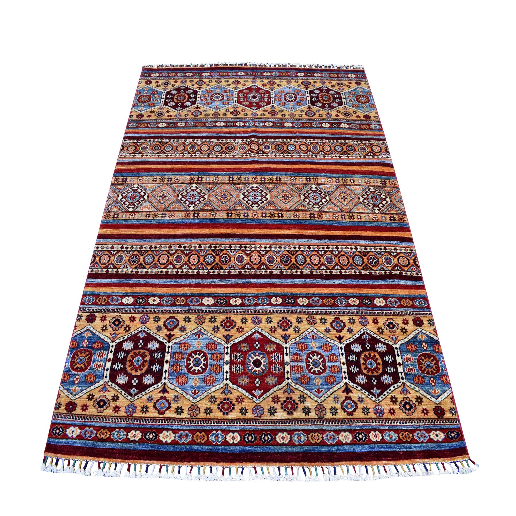 "5'2""X6'8"" Khorjin Design Colorful Super Kazak Pure Wool Hand Knotted Oriental Rug moaeb087"