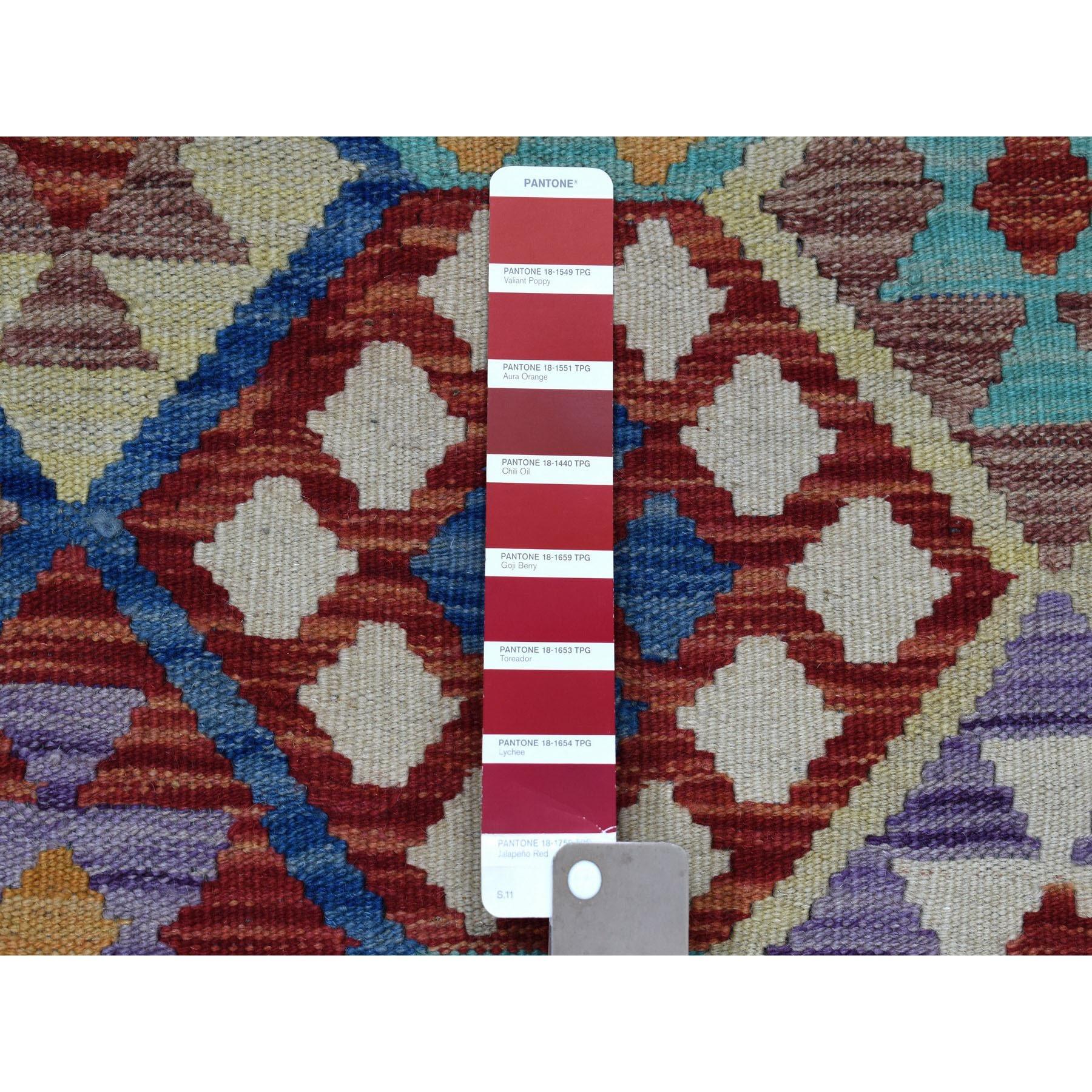 "10'4""x13'1"" Colorful Afghan Kilim Pure Wool Hand Woven Oriental Rug"