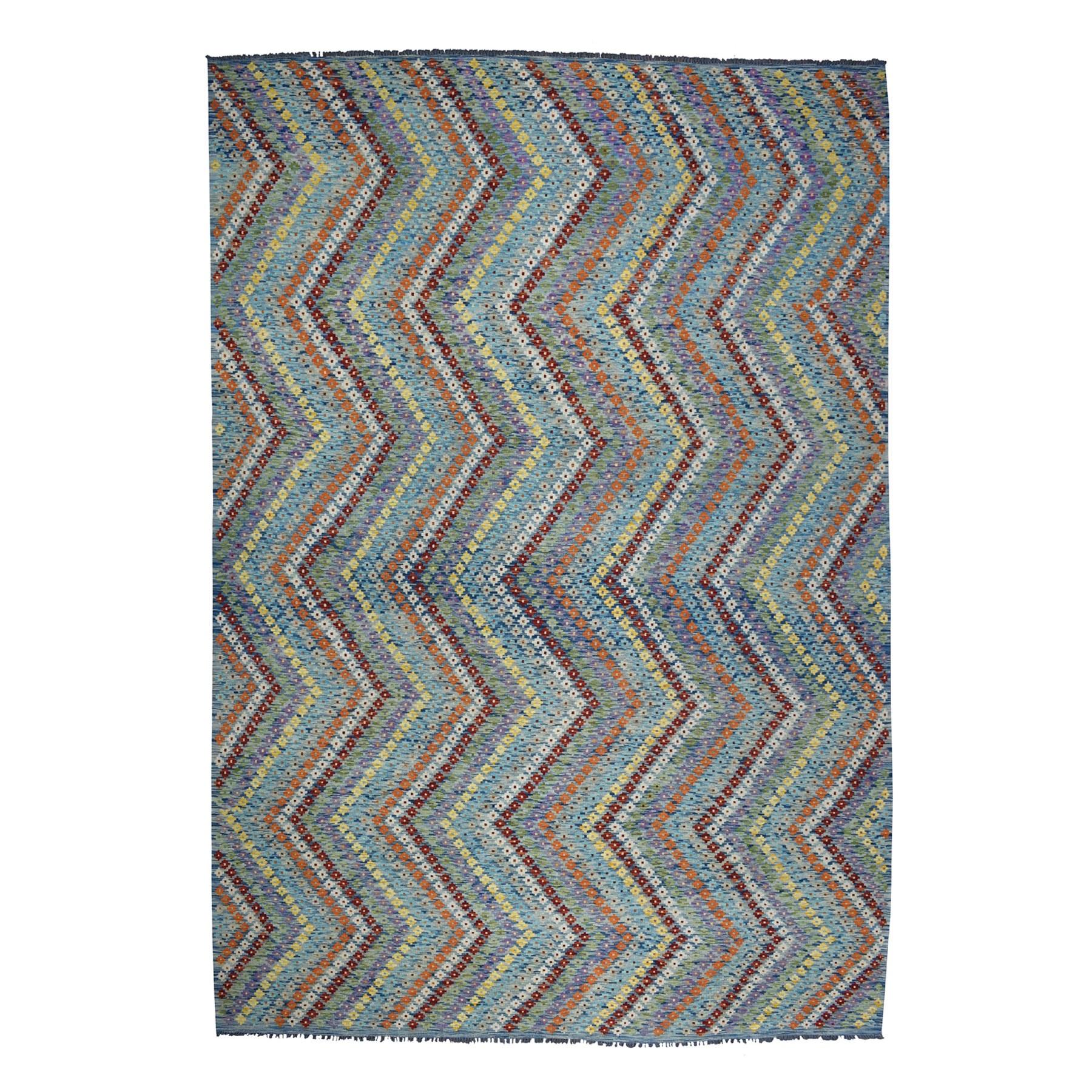 "10'2""X13'4"" Colorful Afghan Kilim Pure Wool Hand Woven Oriental Rug moaeb090"