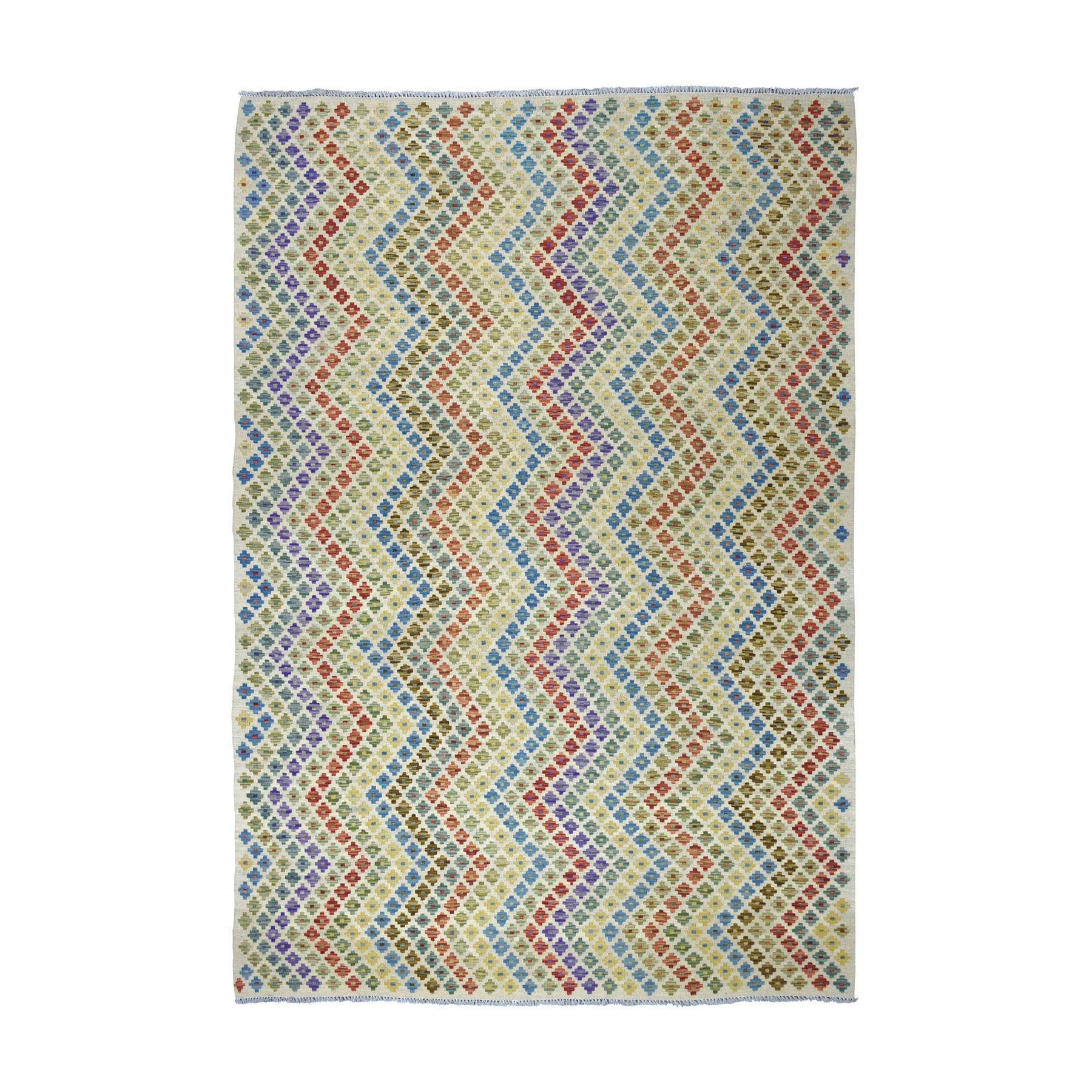 "6'9""x9'6"" Colorful Afghan Kilim Pure Wool Hand Woven Oriental Rug"