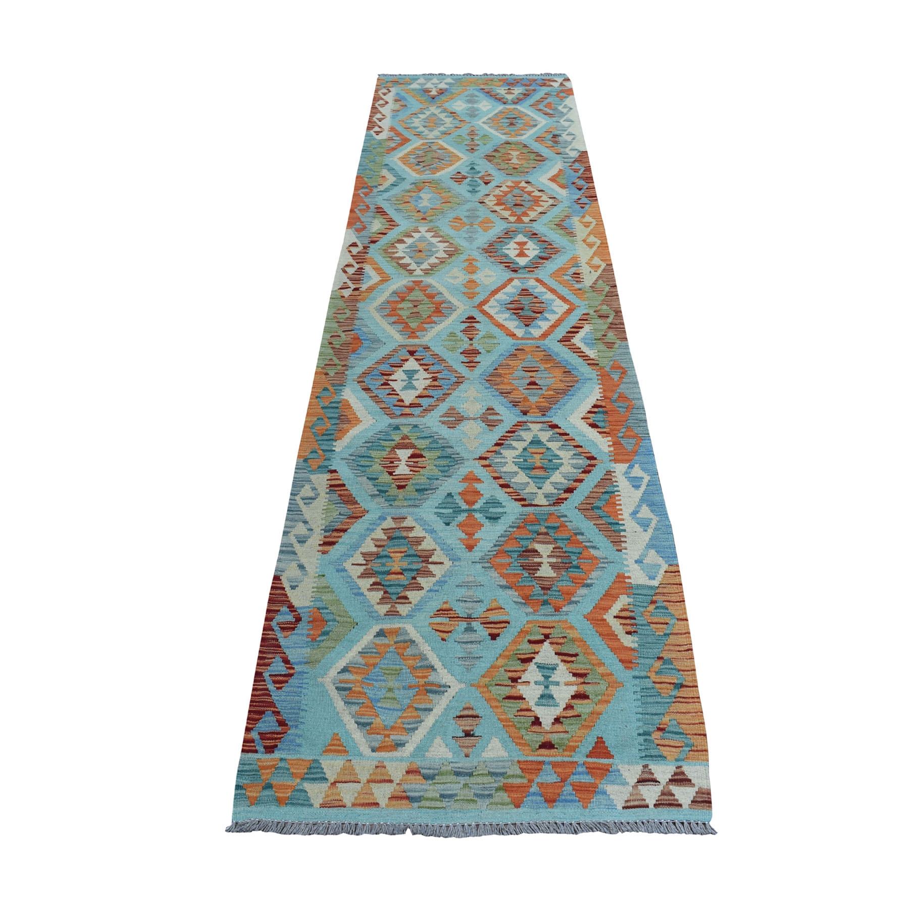 "2'9""X9'8"" Colorful Afghan Kilim Pure Wool Hand Woven Runner Oriental Rug moaeb09c"