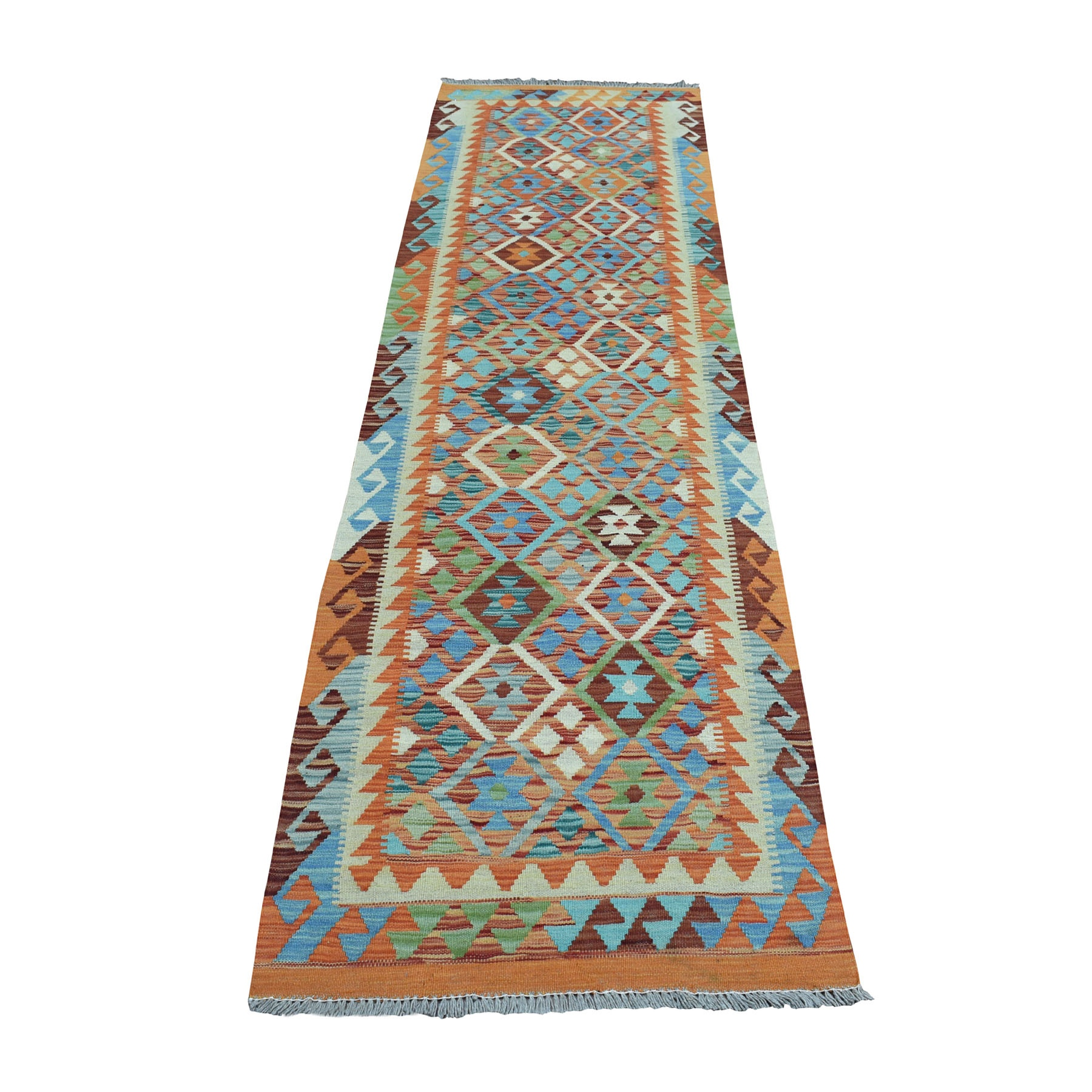 "2'7""X9'3"" Colorful Afghan Kilim Pure Wool Hand Woven Runner Oriental Rug moaeb09d"