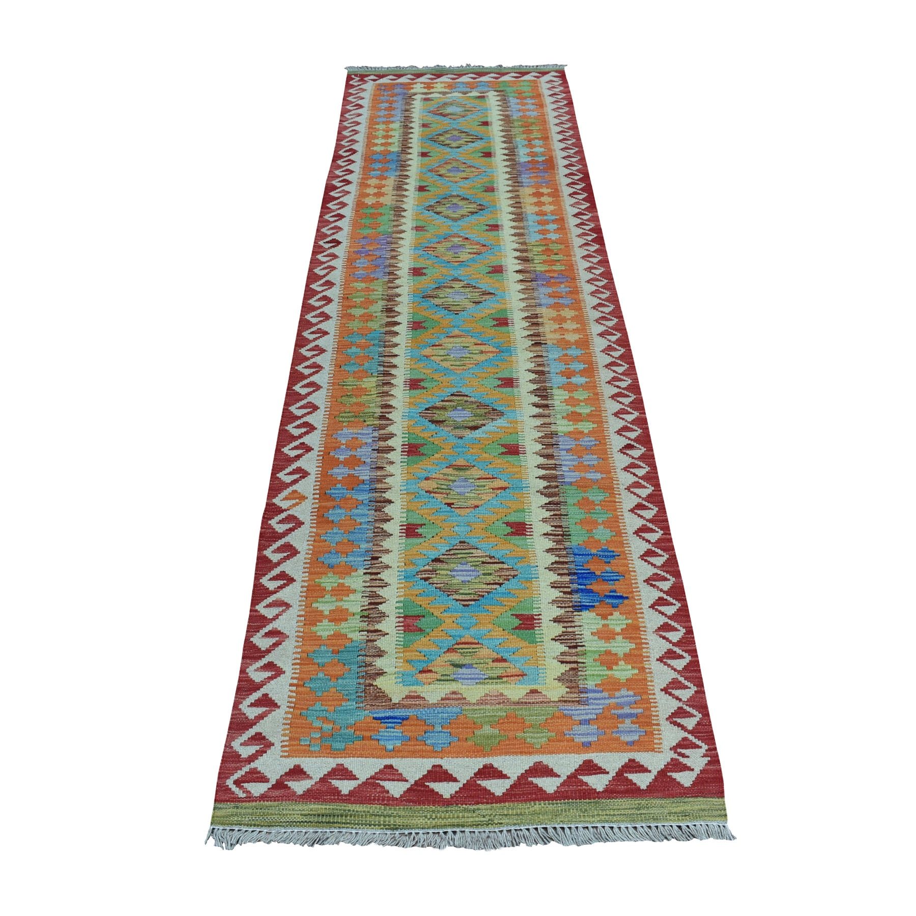 "2'8""X9'5"" Colorful Afghan Kilim Pure Wool Hand Woven Runner Oriental Rug moaeb09e"