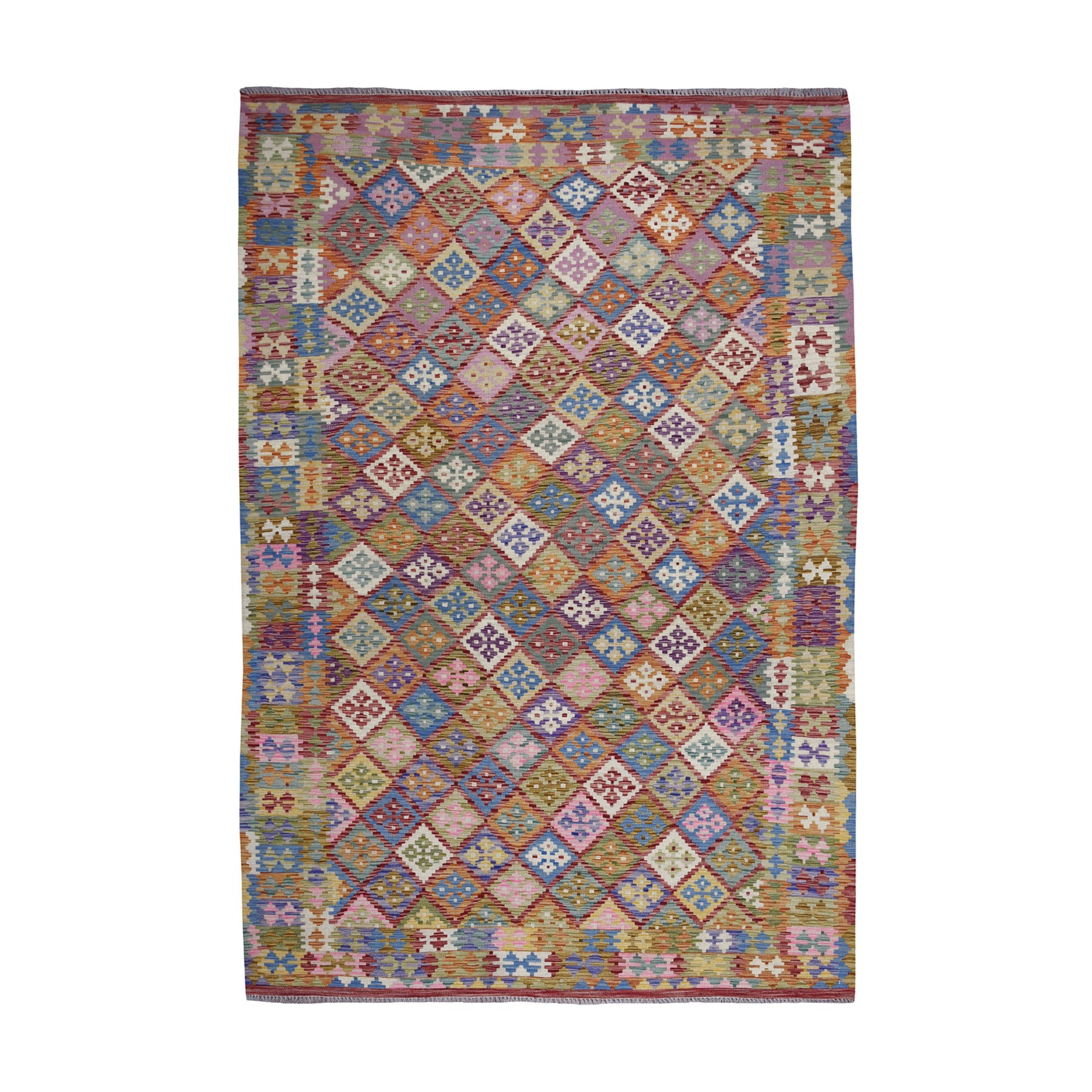 "6'8""X9'7"" Colorful Afghan Kilim Pure Wool Hand Woven Oriental Rug moaeb099"