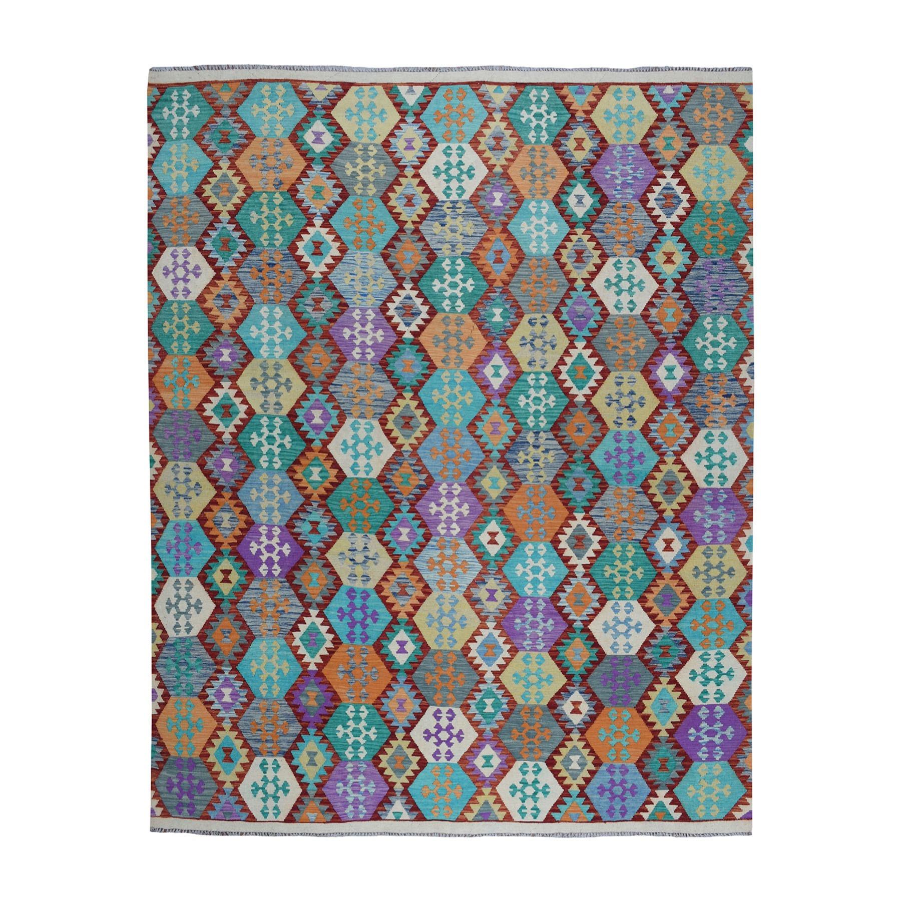 "8'7""X9'6"" Colorful Afghan Kilim Pure Wool Hand Woven Oriental Rug moaeba08"