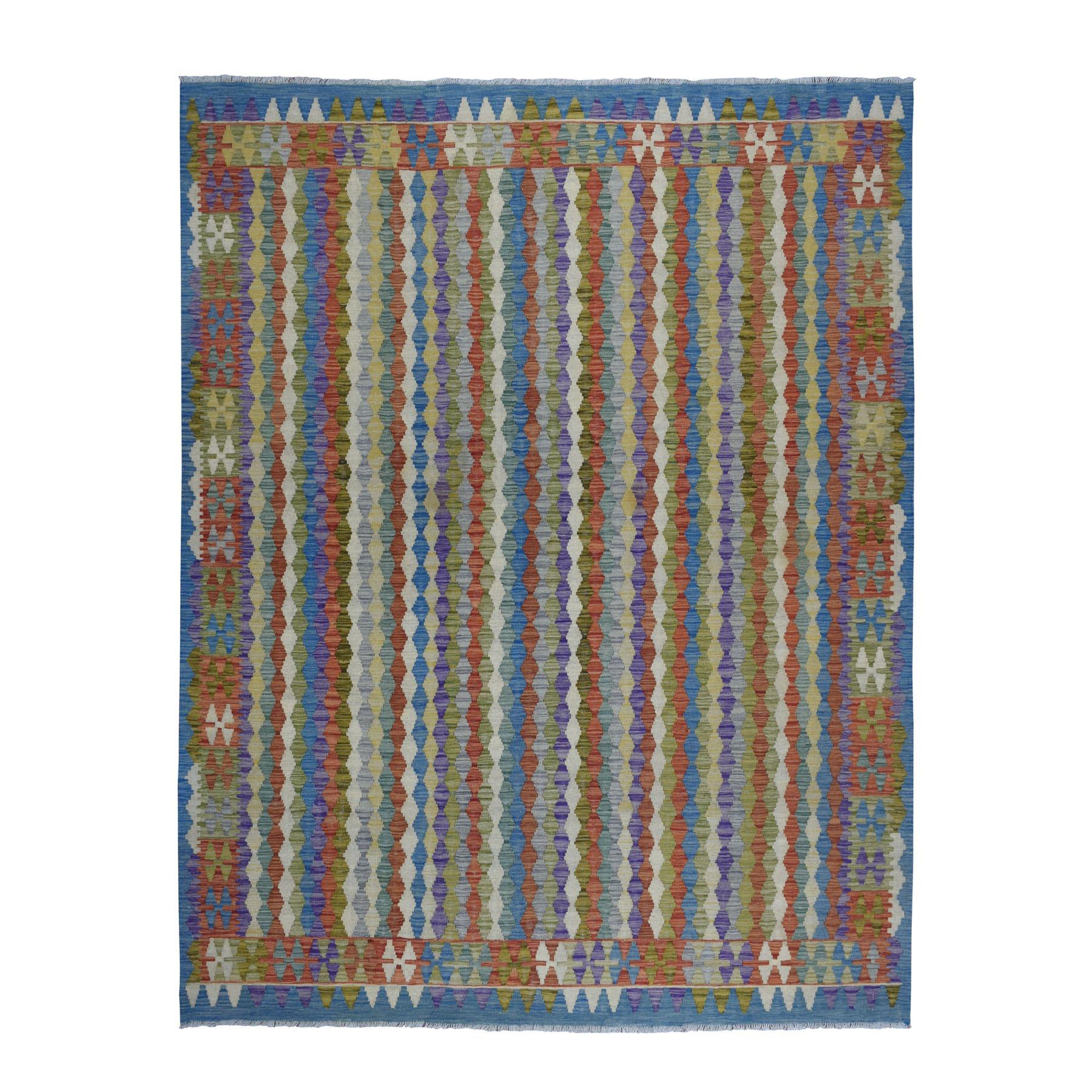 "8'5""X10' Colorful Afghan Kilim Pure Wool Hand Woven Oriental Rug moaebaaa"