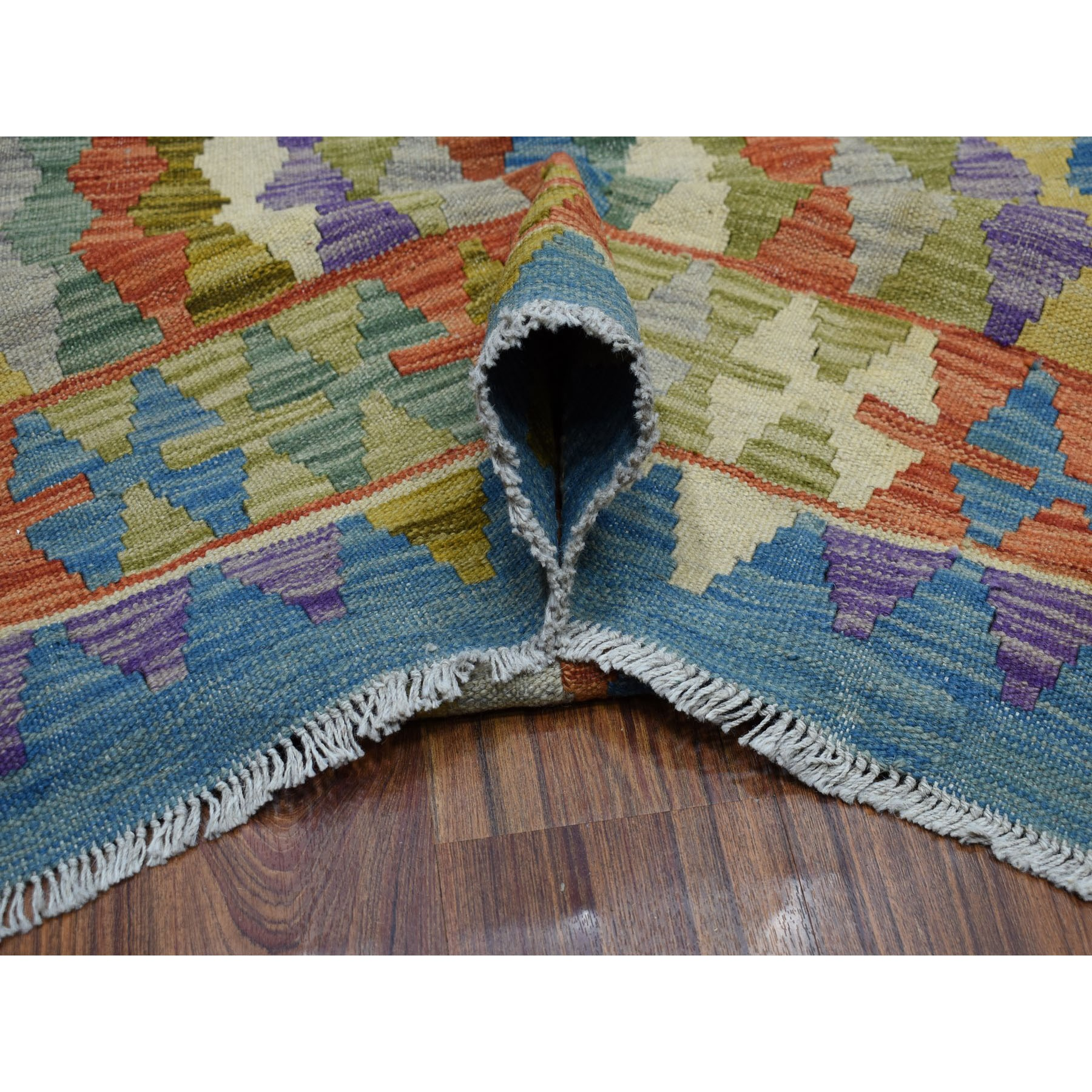 "8'5""x10' Colorful Afghan Kilim Pure Wool Hand Woven Oriental Rug"