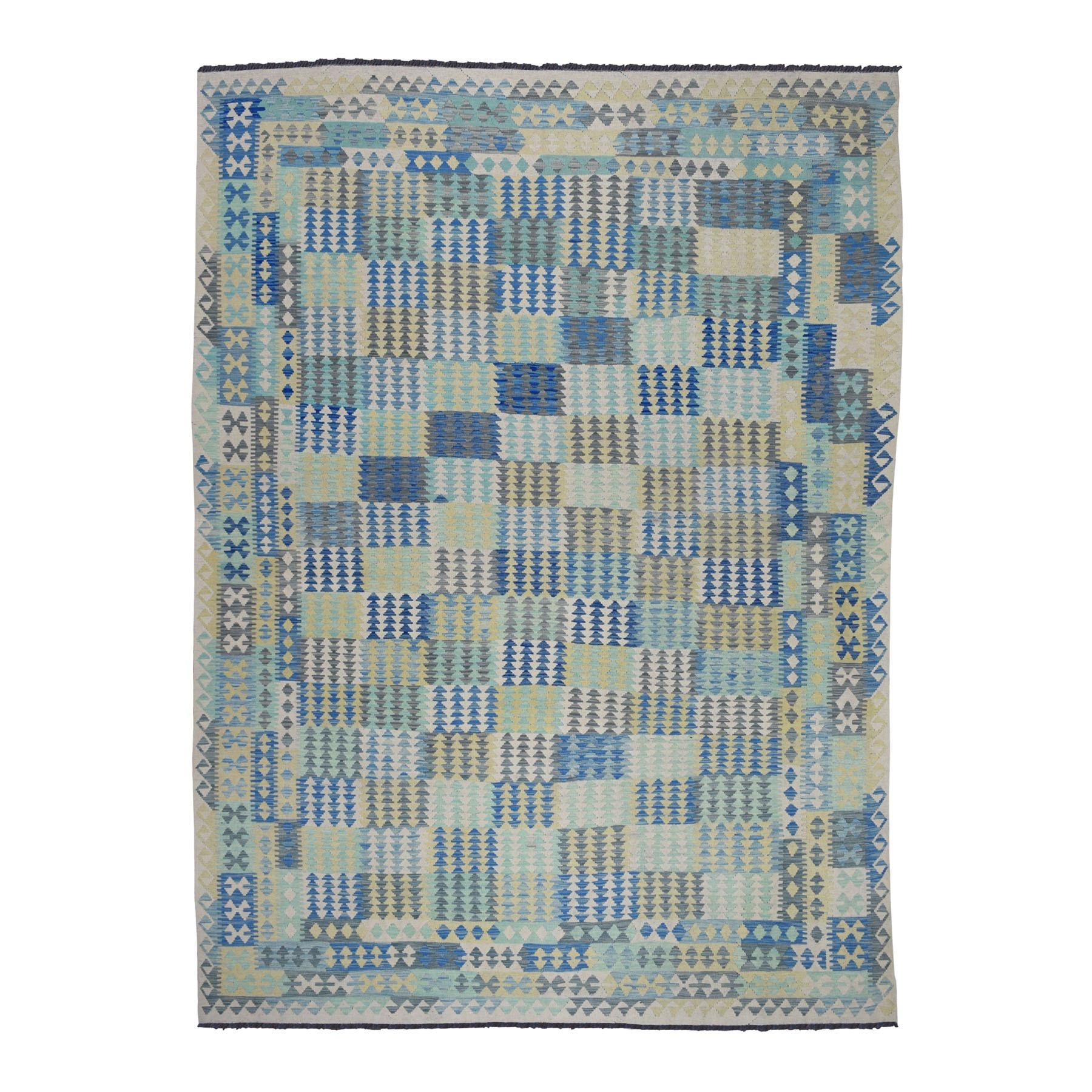 "8'4""x11'4"" Blue Afghan Kilim Pure Wool Hand Woven Oriental Rug"