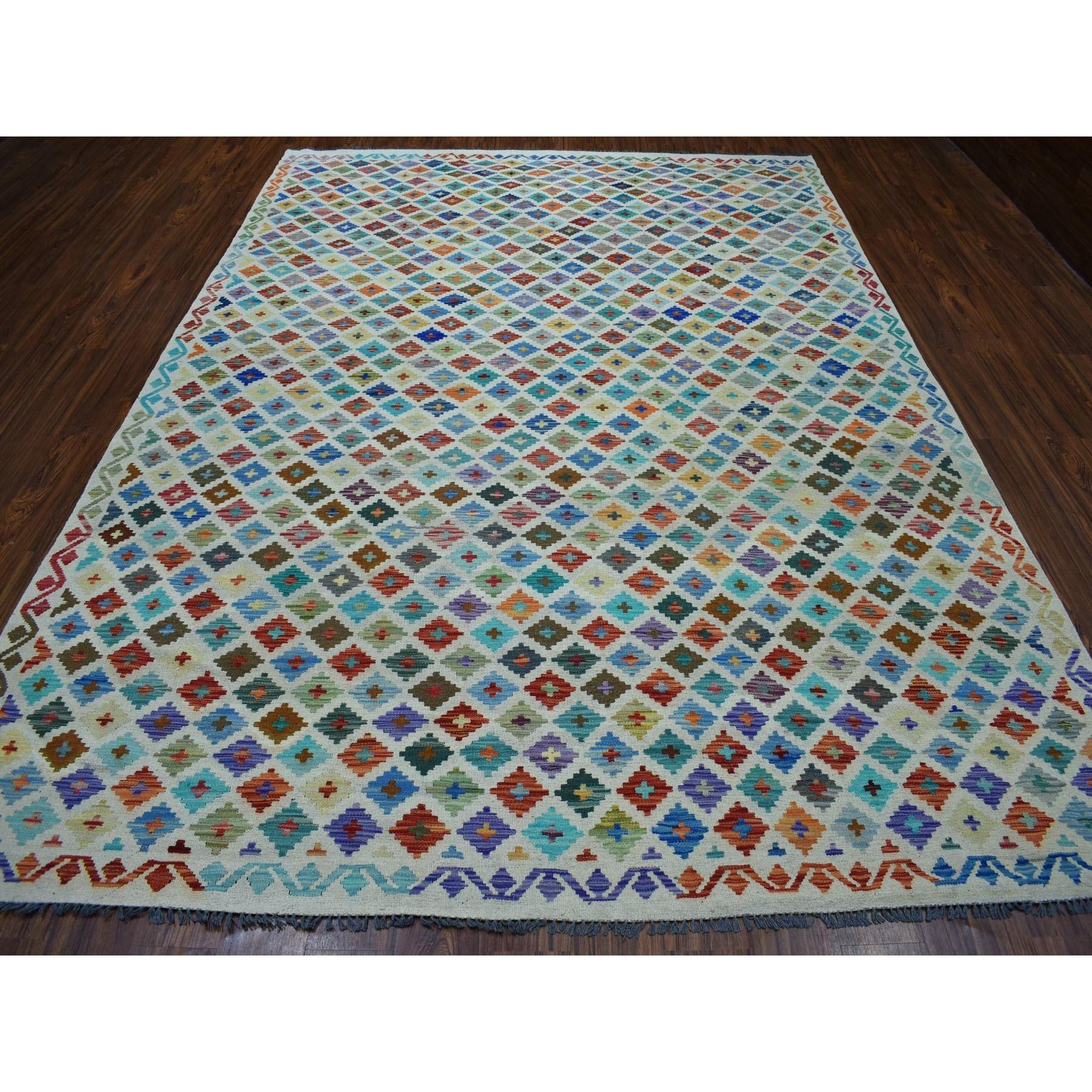 "8'3""x11'5"" Colorful Afghan Kilim Pure Wool Hand Woven Oriental Rug"