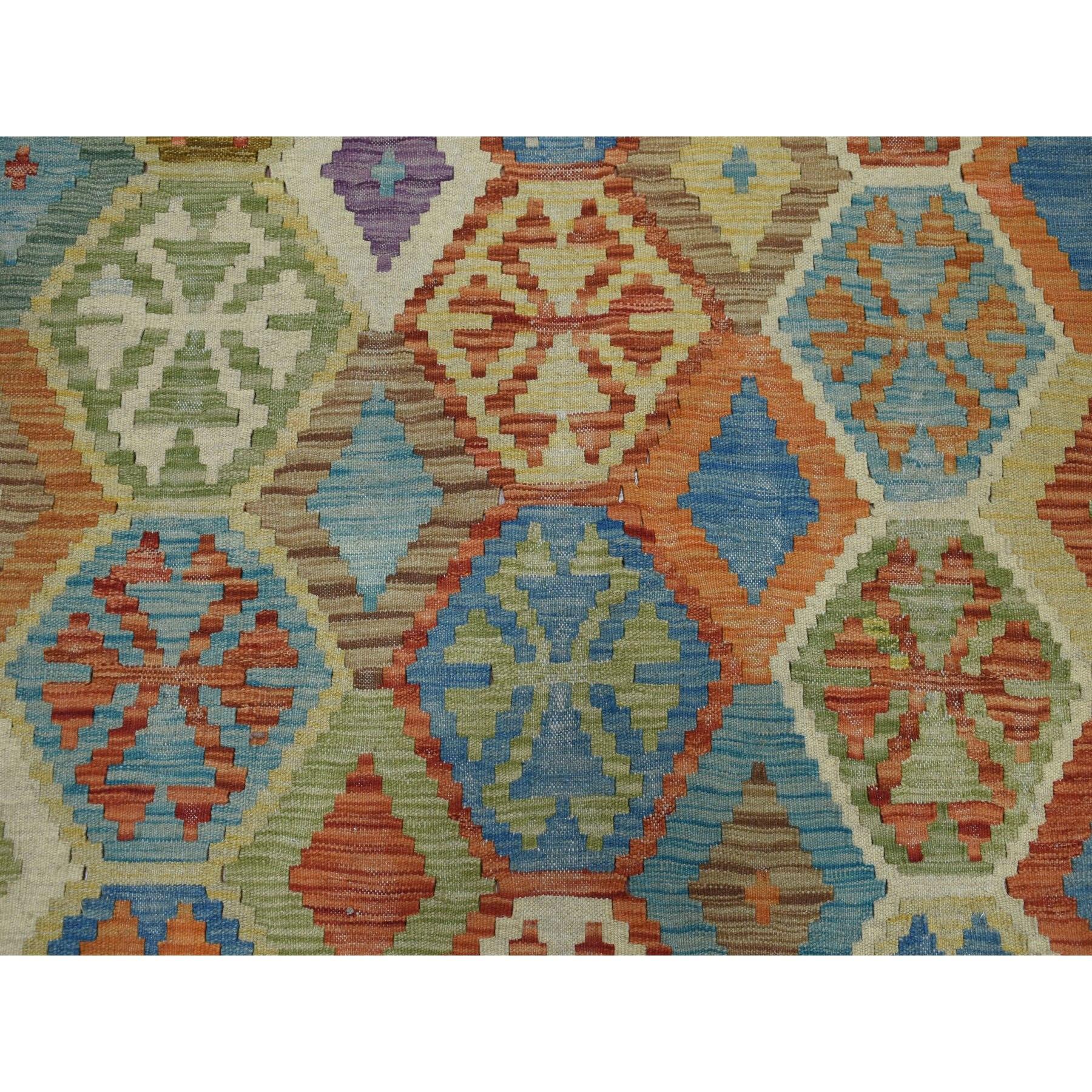 "8'2""x9'6"" Colorful Afghan Kilim Pure Wool Hand Woven Oriental Rug"