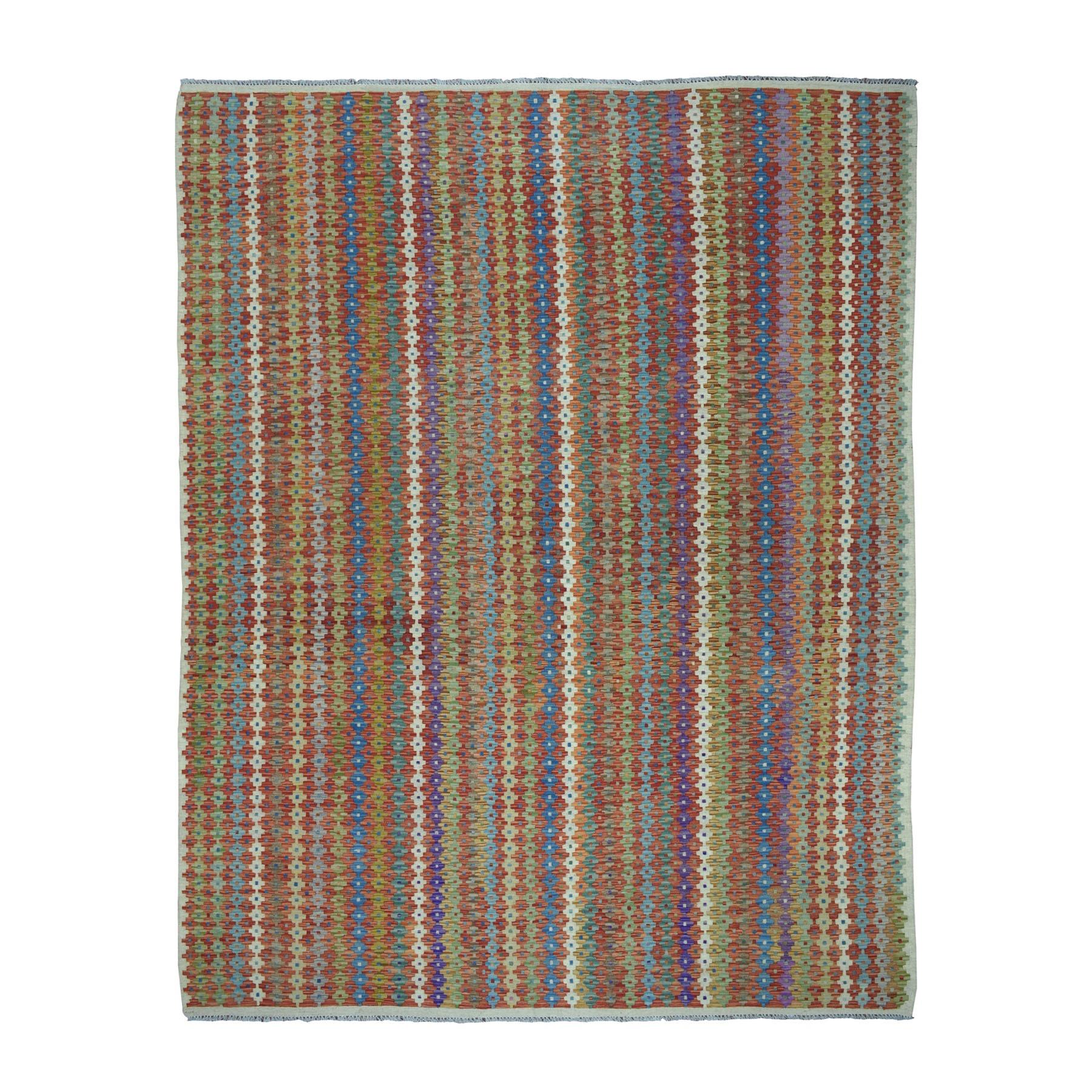 "8'5""X11'6"" Colorful Afghan Kilim Pure Wool Hand Woven Oriental Rug moaebaa6"