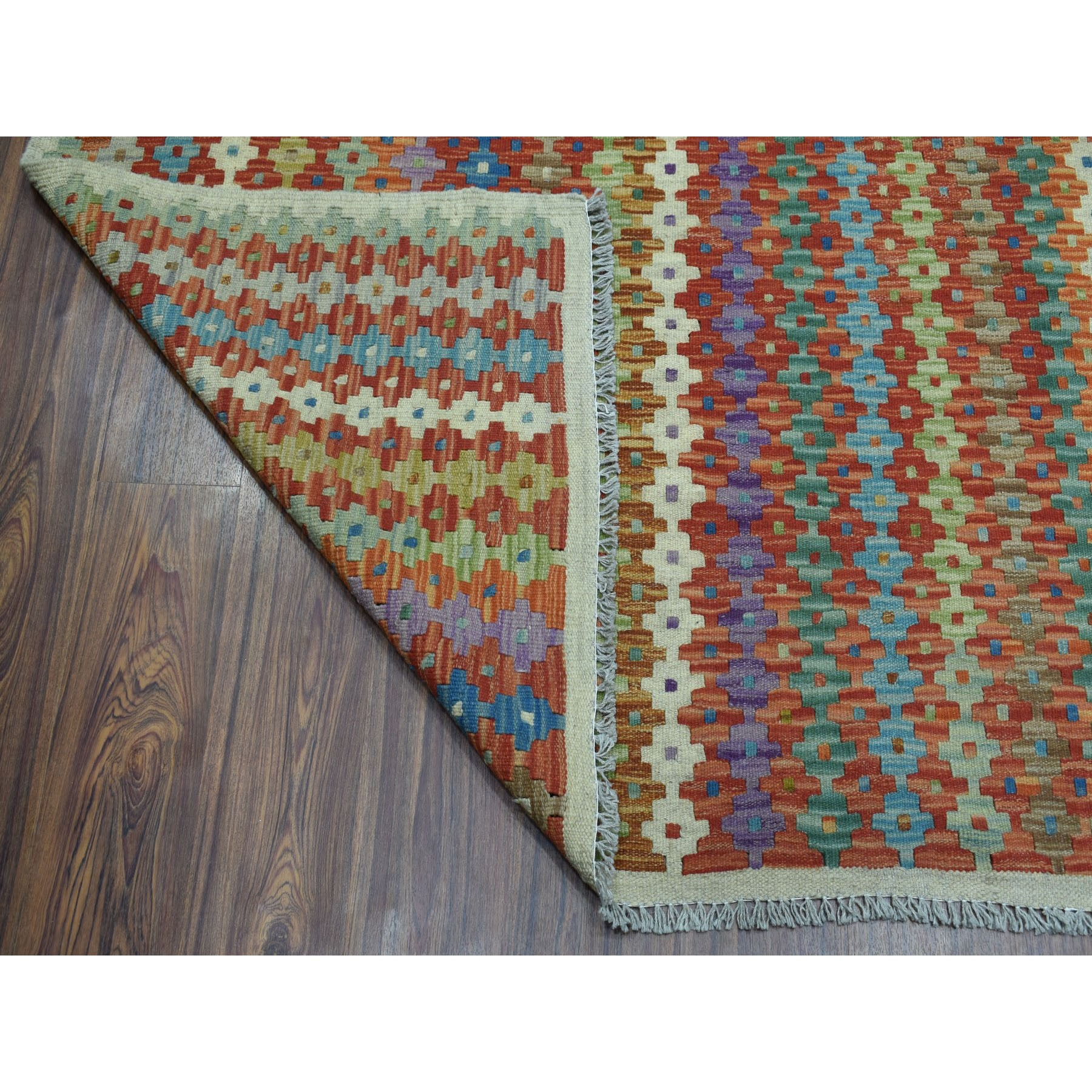 "8'5""x11'6"" Colorful Afghan Kilim Pure Wool Hand Woven Oriental Rug"