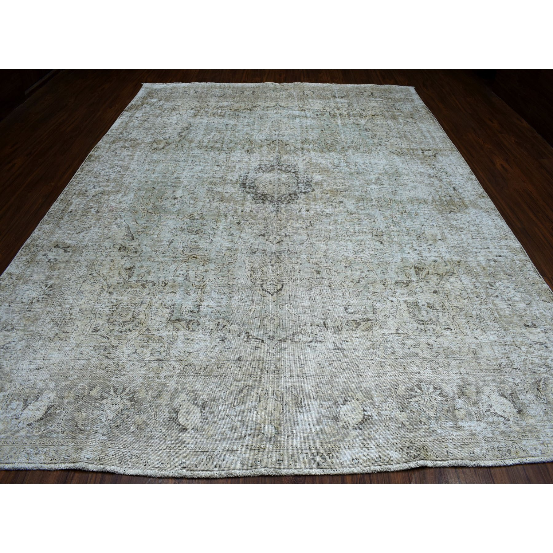 "9'8""x13' Gray Vintage Persian Tabriz Worn Pile Hand Knotted Oriental Rug"