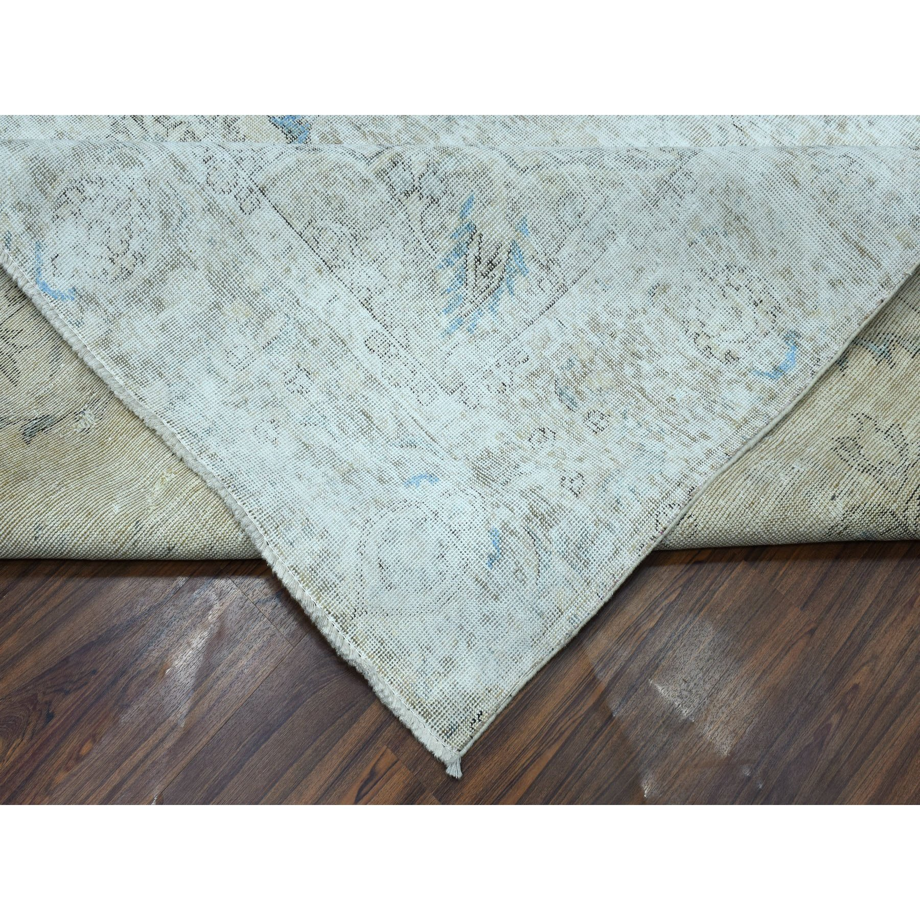 "9'6""x12'4"" Gray Vintage Persian Tabriz Pure Wool Hand Knotted Oriental Rug"