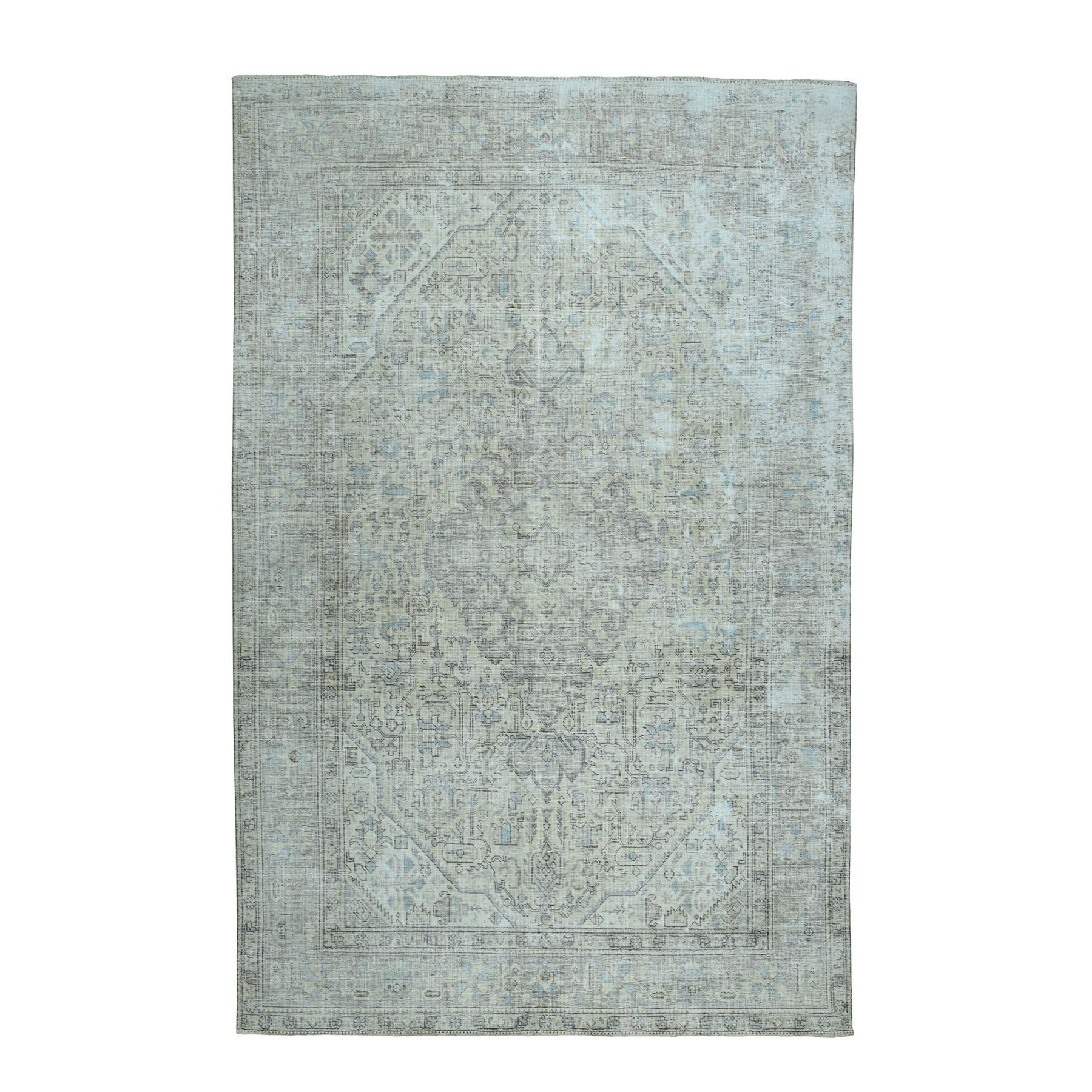 """6'5""""X9'4"""" Ivory Vintage Persian Tabriz Worn Pile Hand Knotted Oriental Rug moaebab7"""