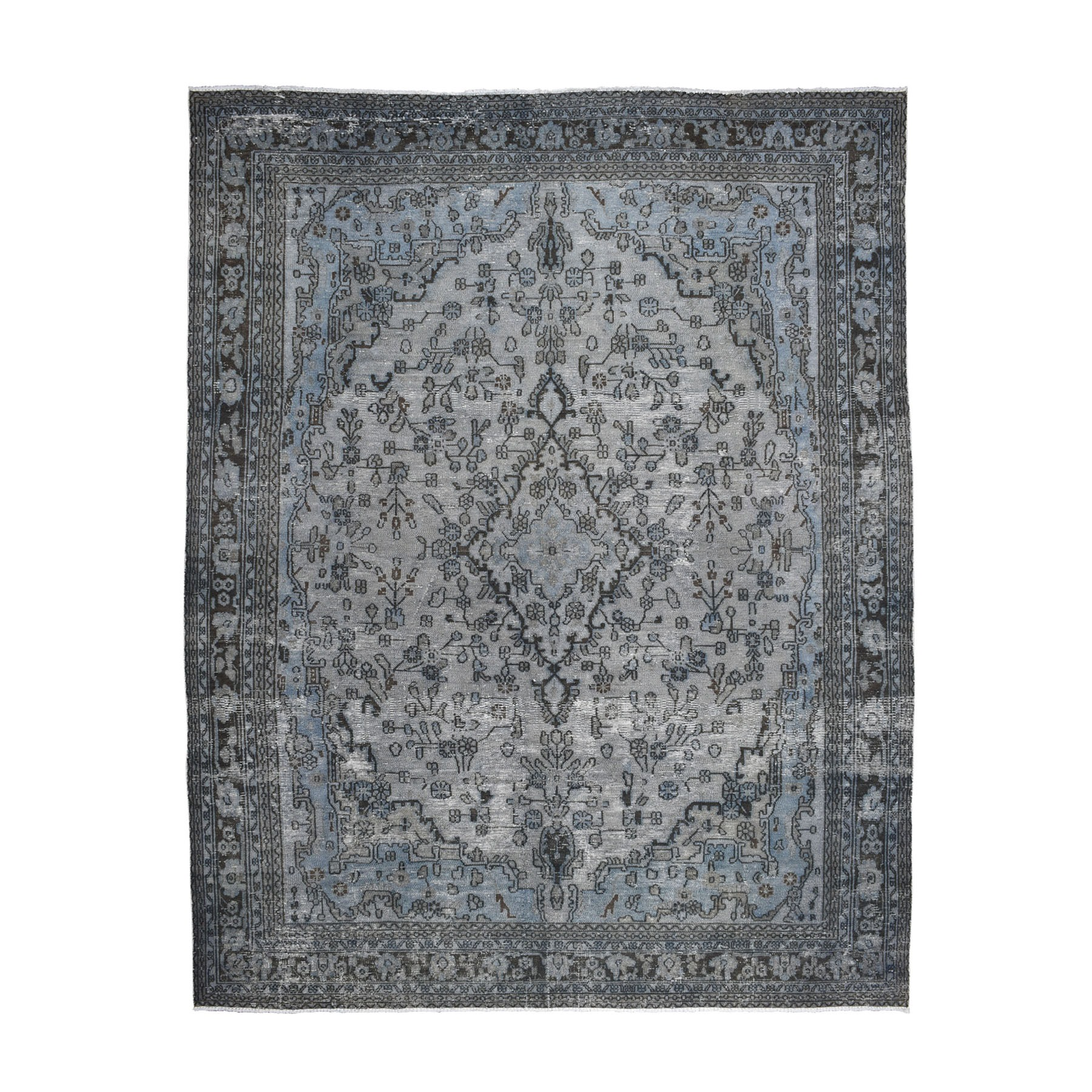 "8'6""X11'2"" Gray Overdyed Vintage Persian Tabriz Worn Pile Hand Knotted Oriental Rug moaebacc"