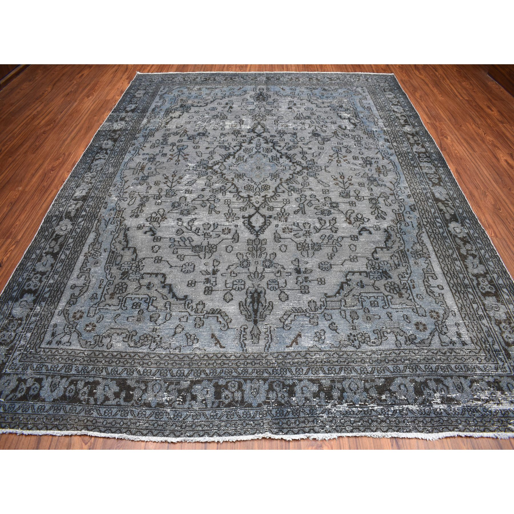 "8'6""x11'2"" Gray Overdyed Vintage Persian Tabriz Worn Pile Hand Knotted Oriental Rug"