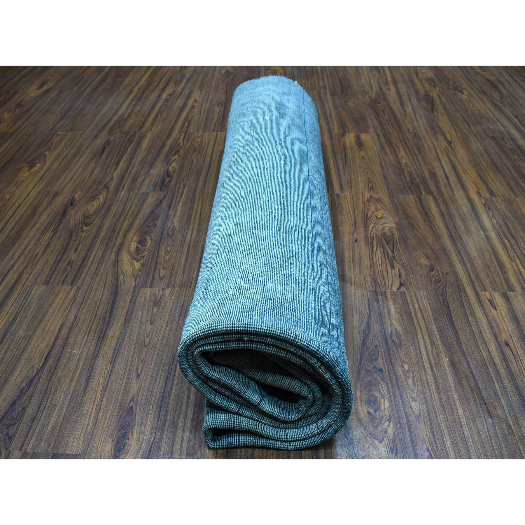 "8'x11'1"" Blue Vintage Persian Tabriz Worn Pile Hand Knotted Oriental Rug"