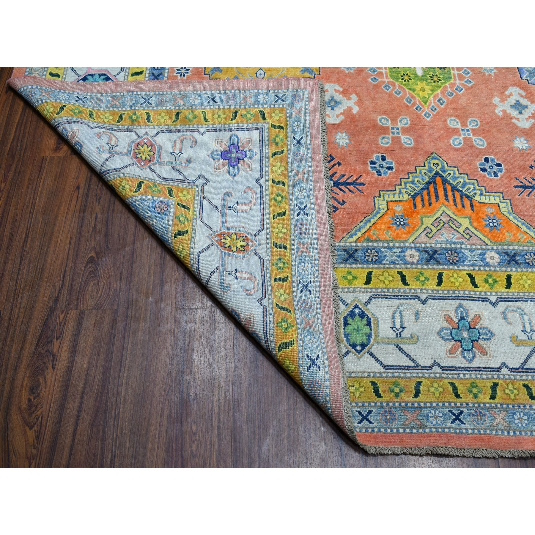 "8'10""x11'9"" Colorful Coral Fusion Kazak Pure Wool Hand Knotted Oriental Rug"