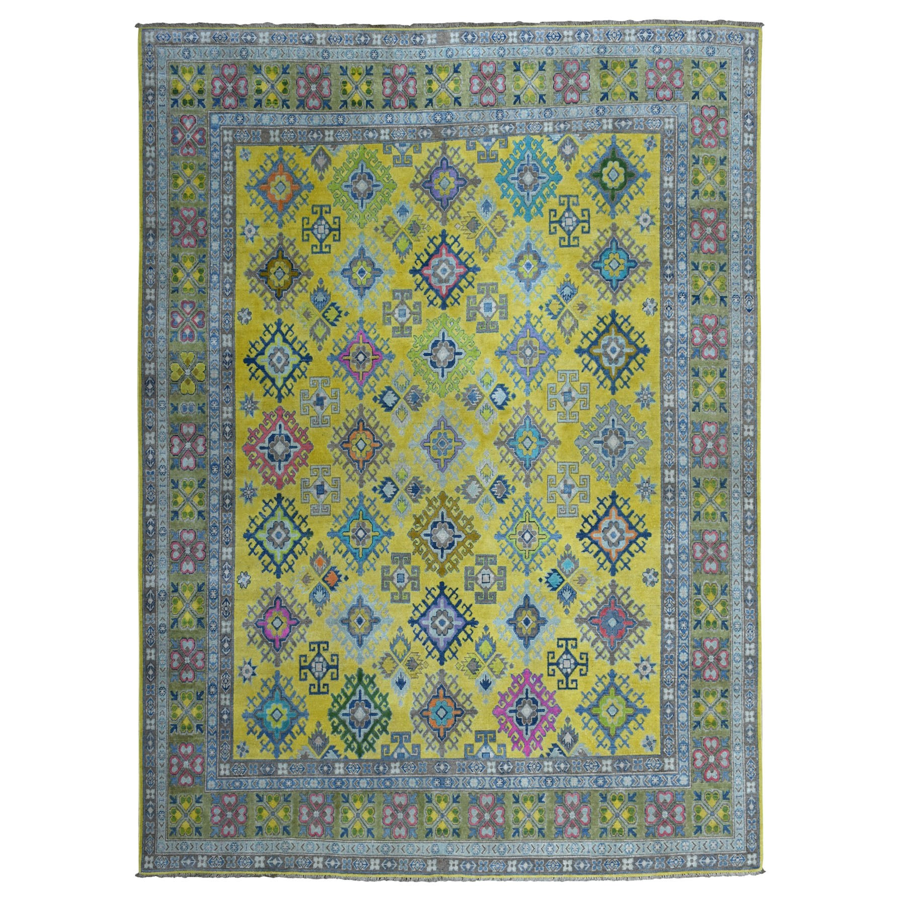 8'X10' Colorful Yellow Fusion Kazak Pure Wool Geometric Design Hand Knotted Oriental Rug moaebae0