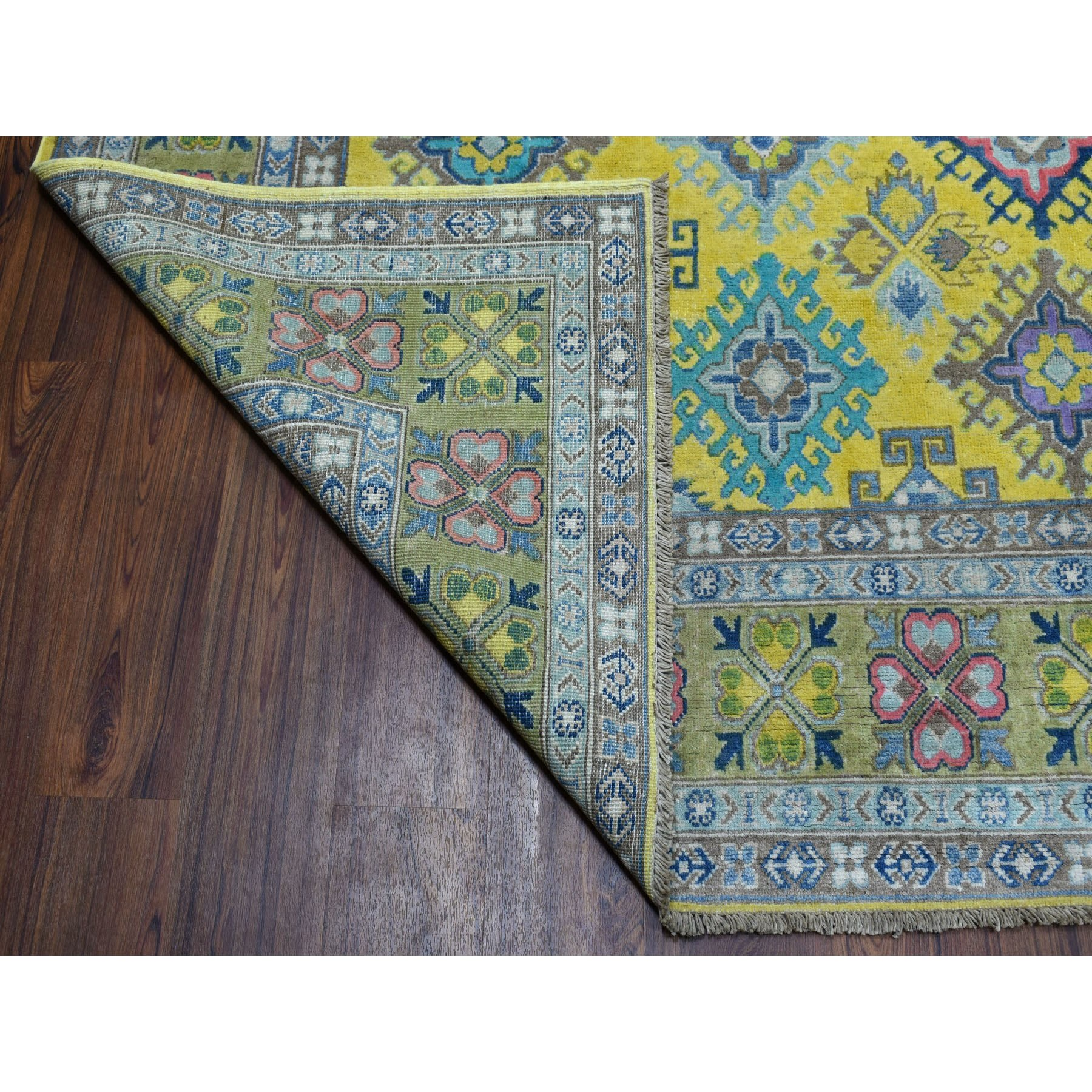 8'x10' Colorful Yellow Fusion Kazak Pure Wool Geometric Design Hand Knotted Oriental Rug