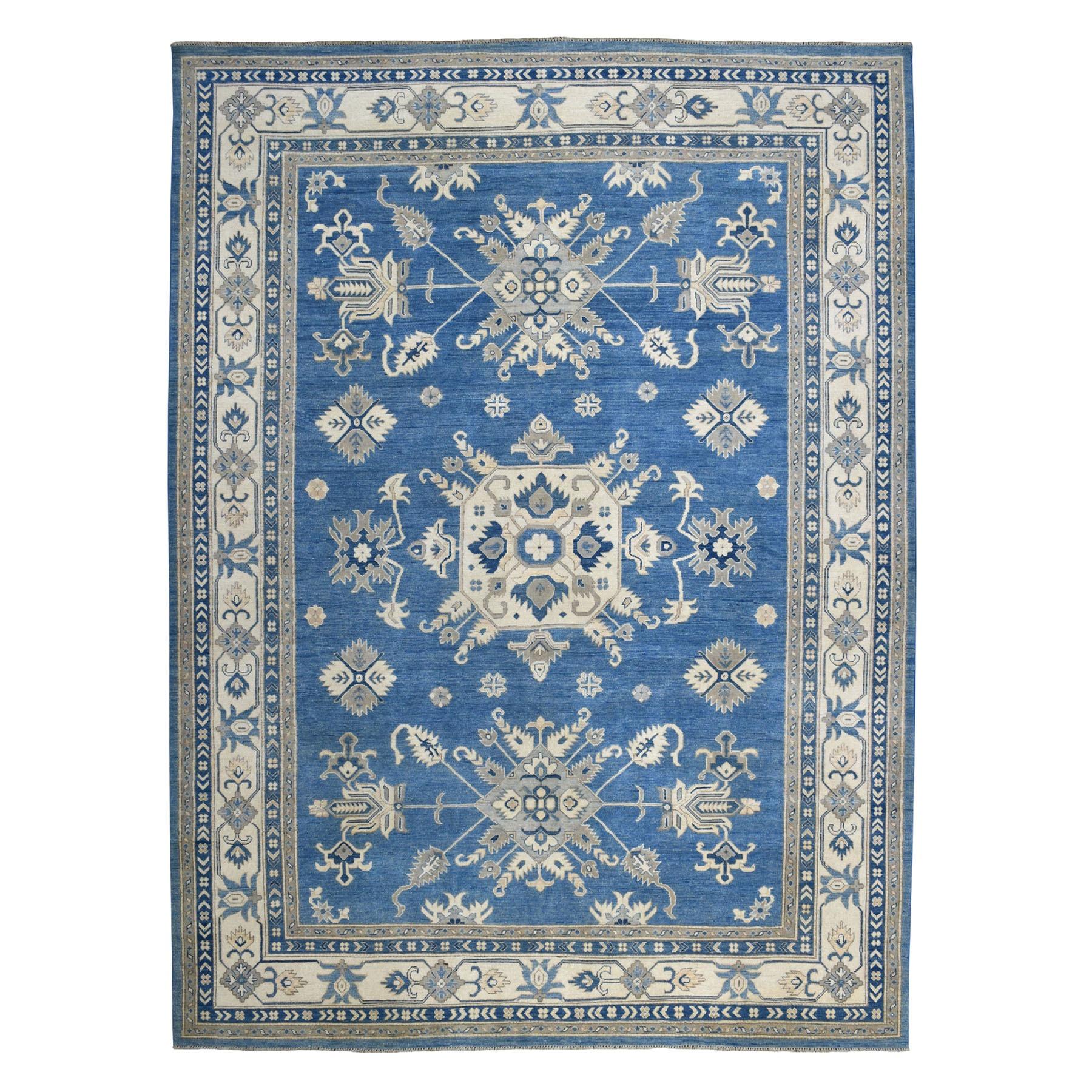 "9'X11'8"" Blue Vintage Look Kazak Geometric Design Pure Wool Hand Knotted Oriental Rug moaebaec"