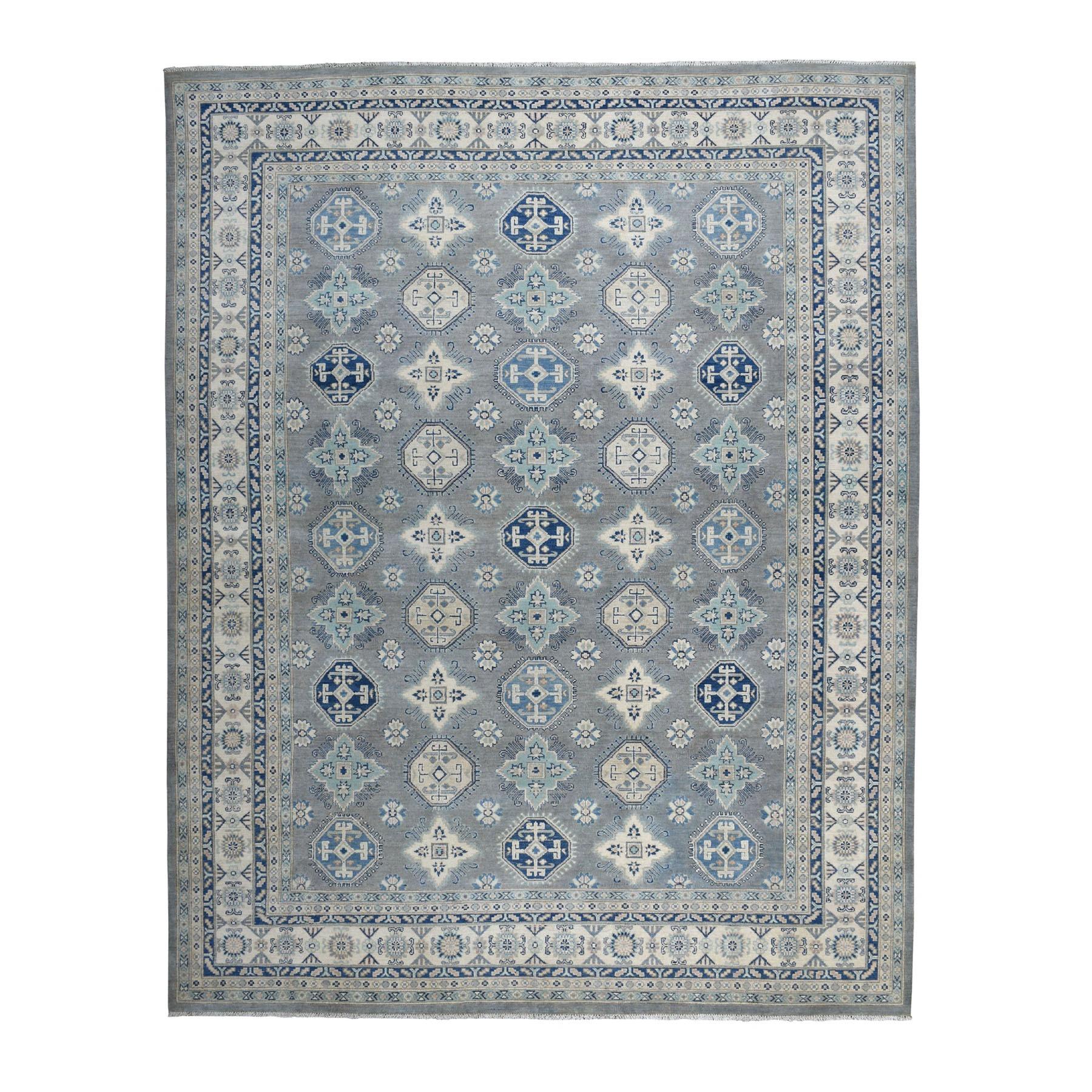 "8'9""X11'4"" Gray Vintage Look Kazak Geometric Design Pure Wool Hand Knotted Oriental Rug moaebaed"