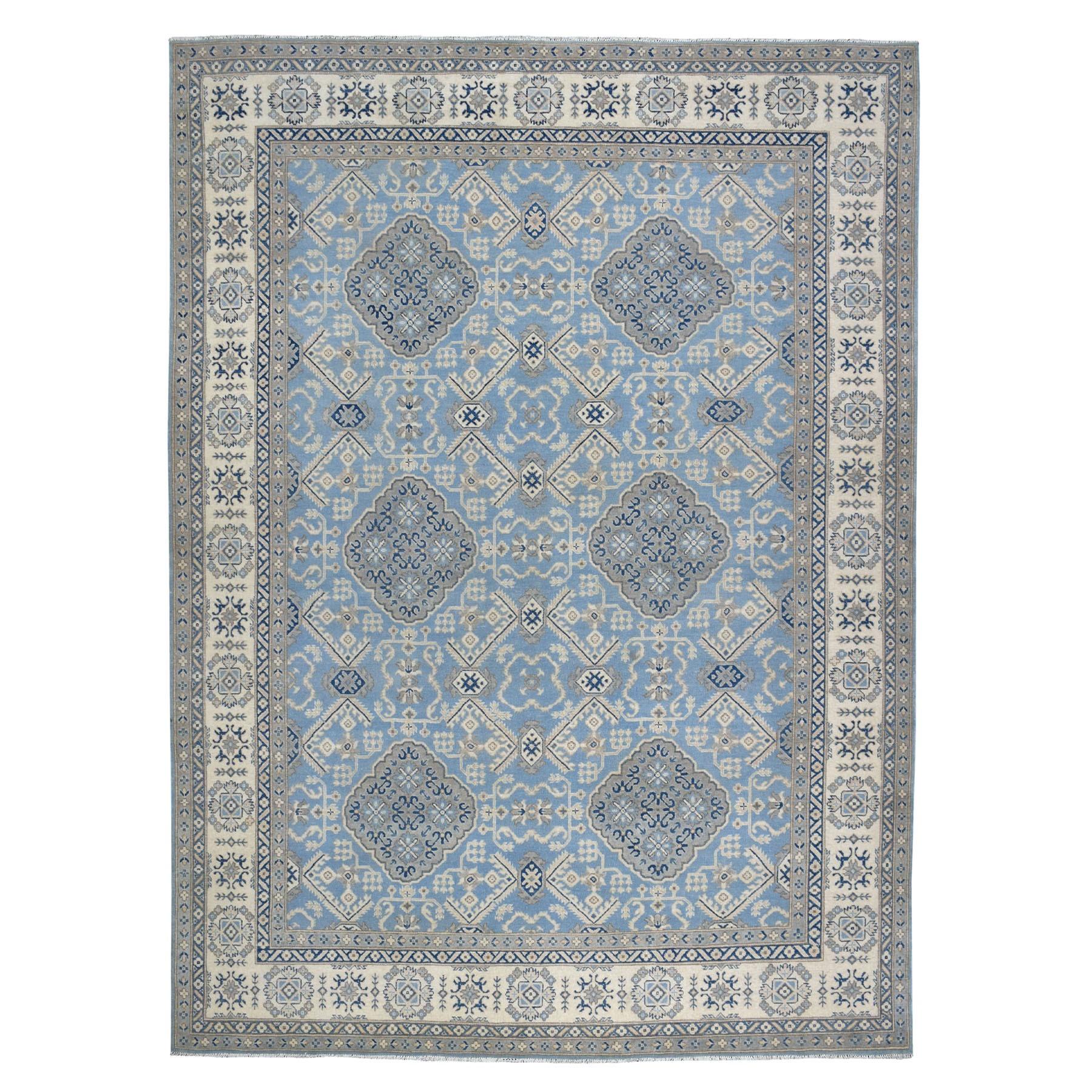 "9'X11'9"" Blue Vintage Look Kazak Geometric Design Pure Wool Hand Knotted Oriental Rug moaebaee"