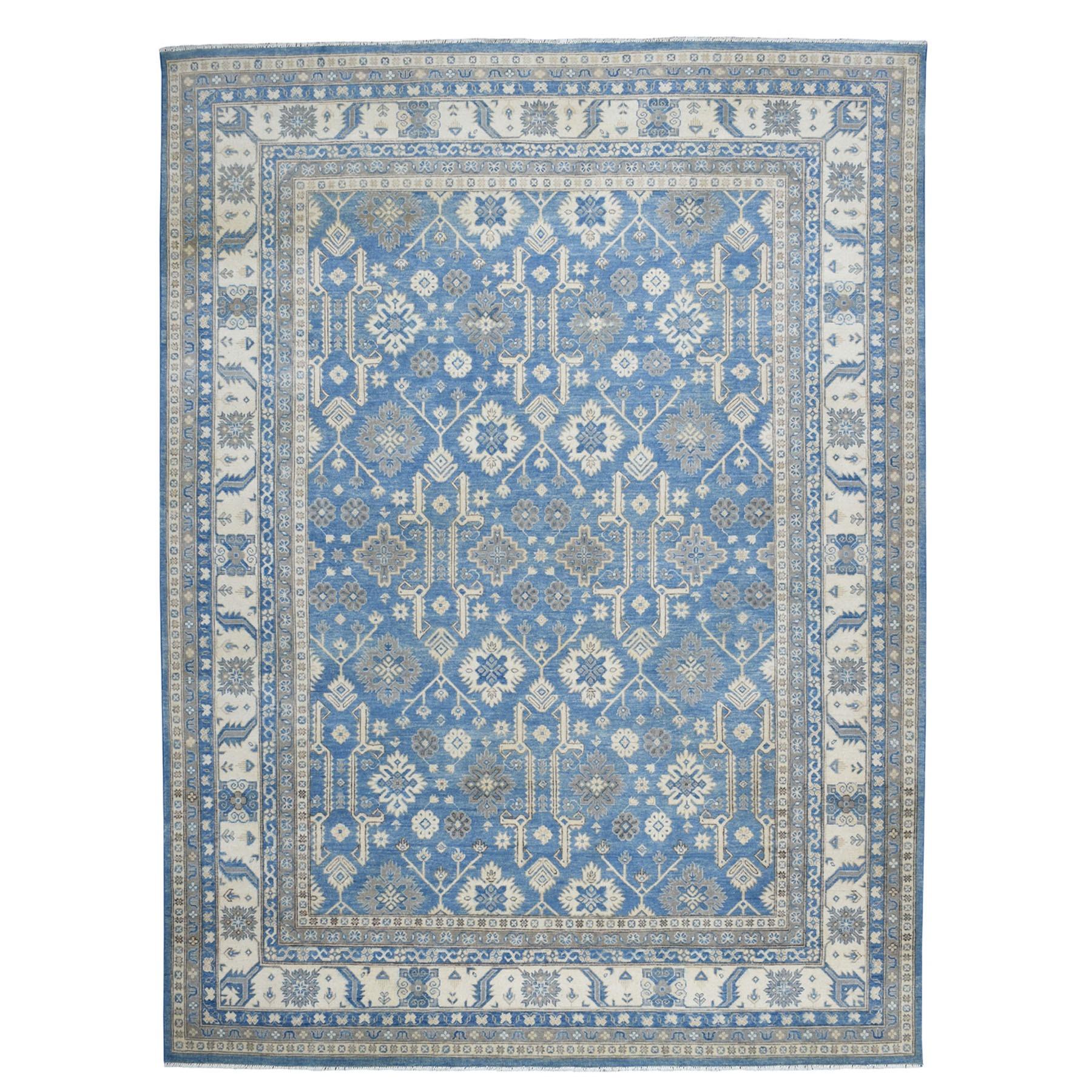 "8'9""X11'8"" Blue Vintage Look Kazak Geometric Design Pure Wool Hand Knotted Oriental Rug moaebae7"
