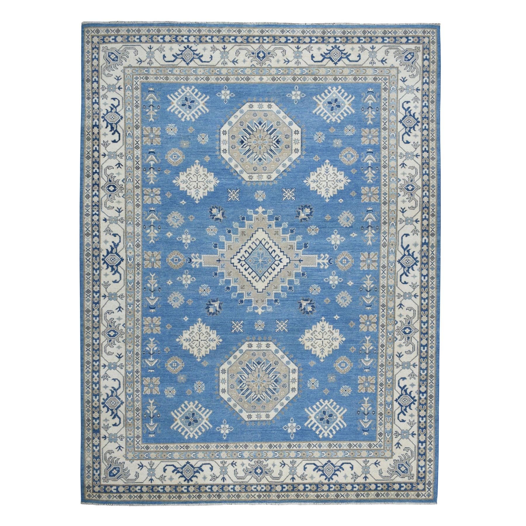 "8'10""X11'8"" Blue Vintage Look Kazak Geometric Design Pure Wool Hand Knotted Oriental Rug moaebae8"