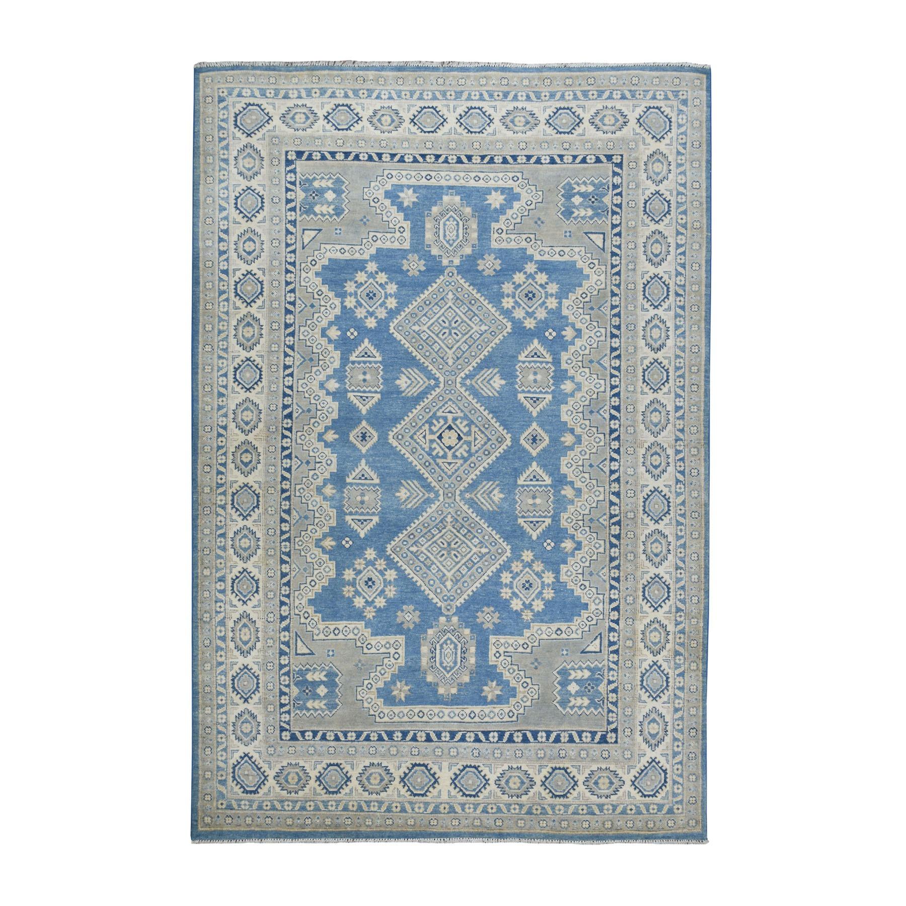 "6'x8'5"" Blue Vintage Look Kazak Geometric Design Pure Wool Hand Knotted Oriental Rug"