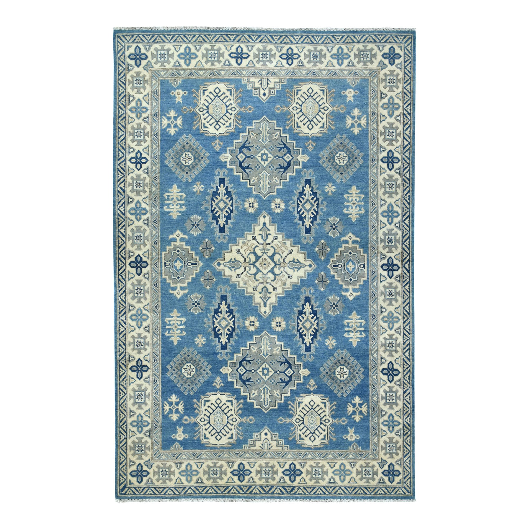 "5'10""X8'10"" Blue Vintage Look Kazak Geometric Design Pure Wool Hand Knotted Oriental Rug moaeba6a"