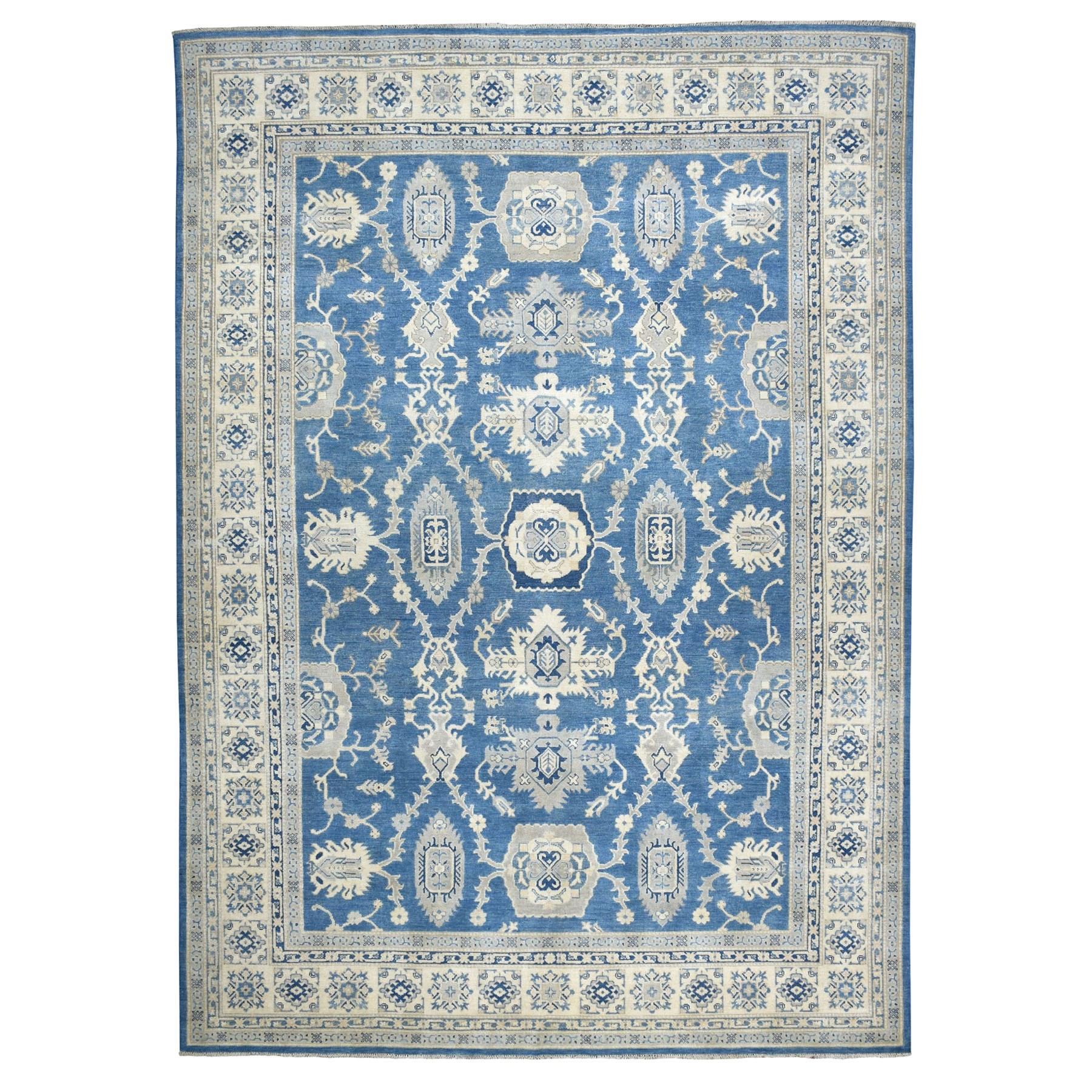 "8'8""x12' Blue Vintage Look Kazak Geometric Design Pure Wool Hand Knotted Oriental Rug"