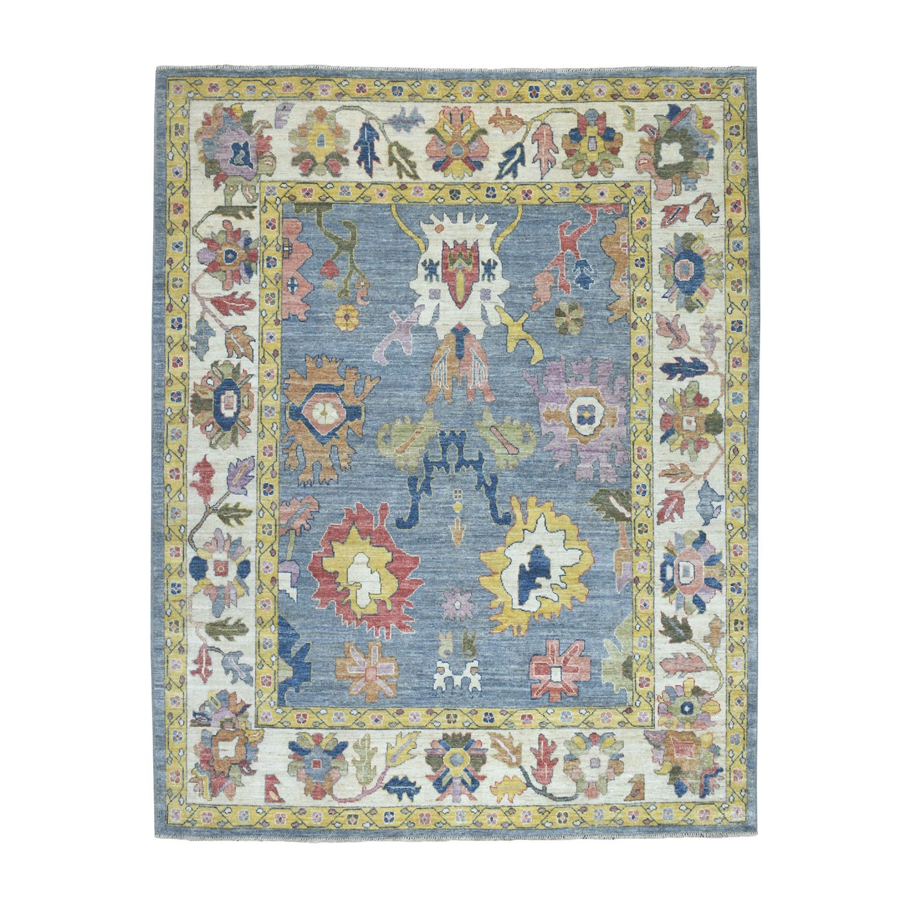 "8'1""X10'1"" Hand Knotted Blue Angora Oushak Pure Wool Oriental Rug moaeba77"