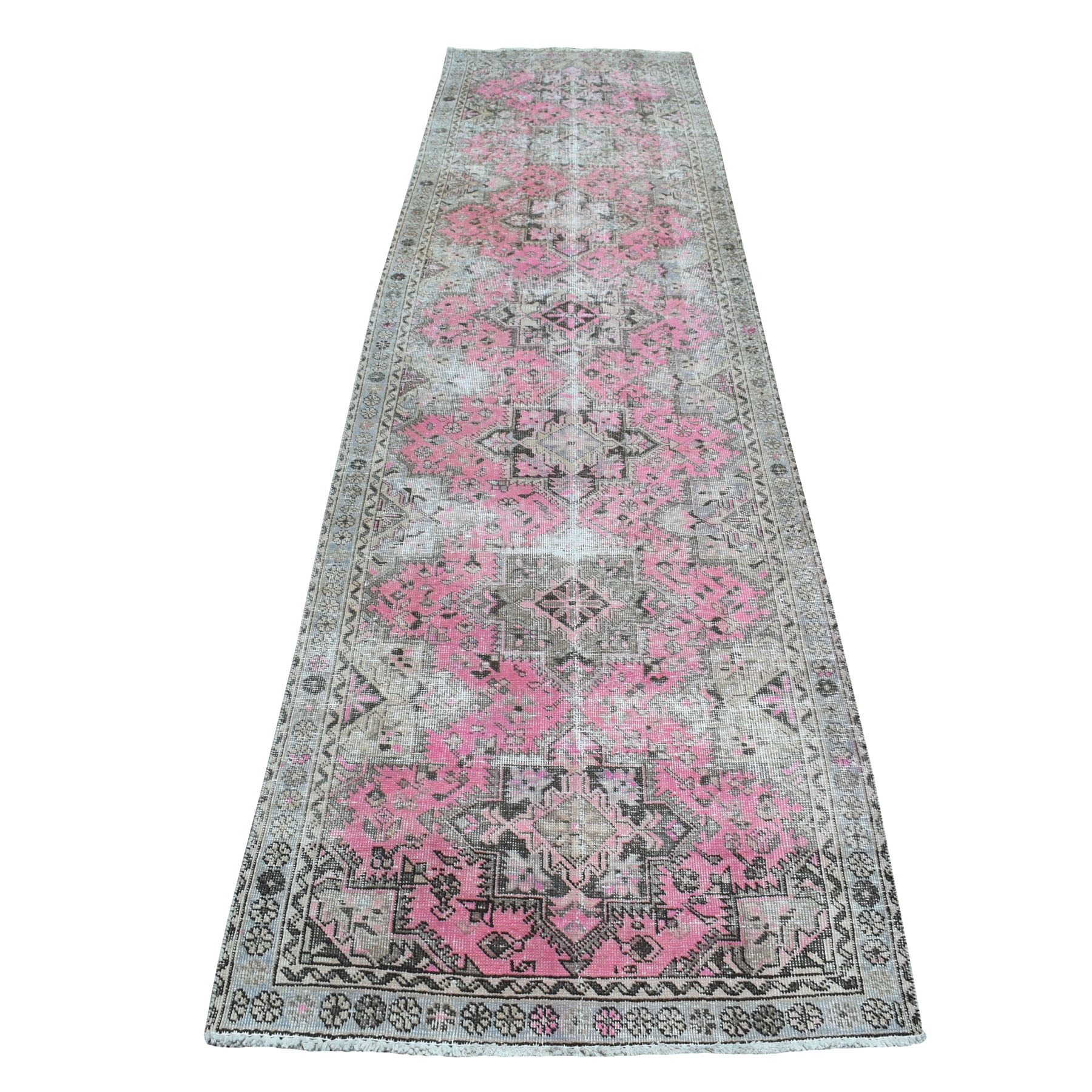 "3'3""X12'5"" Pink Vintage Persian Tabriz Worn Pile Hand Knotted Oriental Rug moaeba8d"