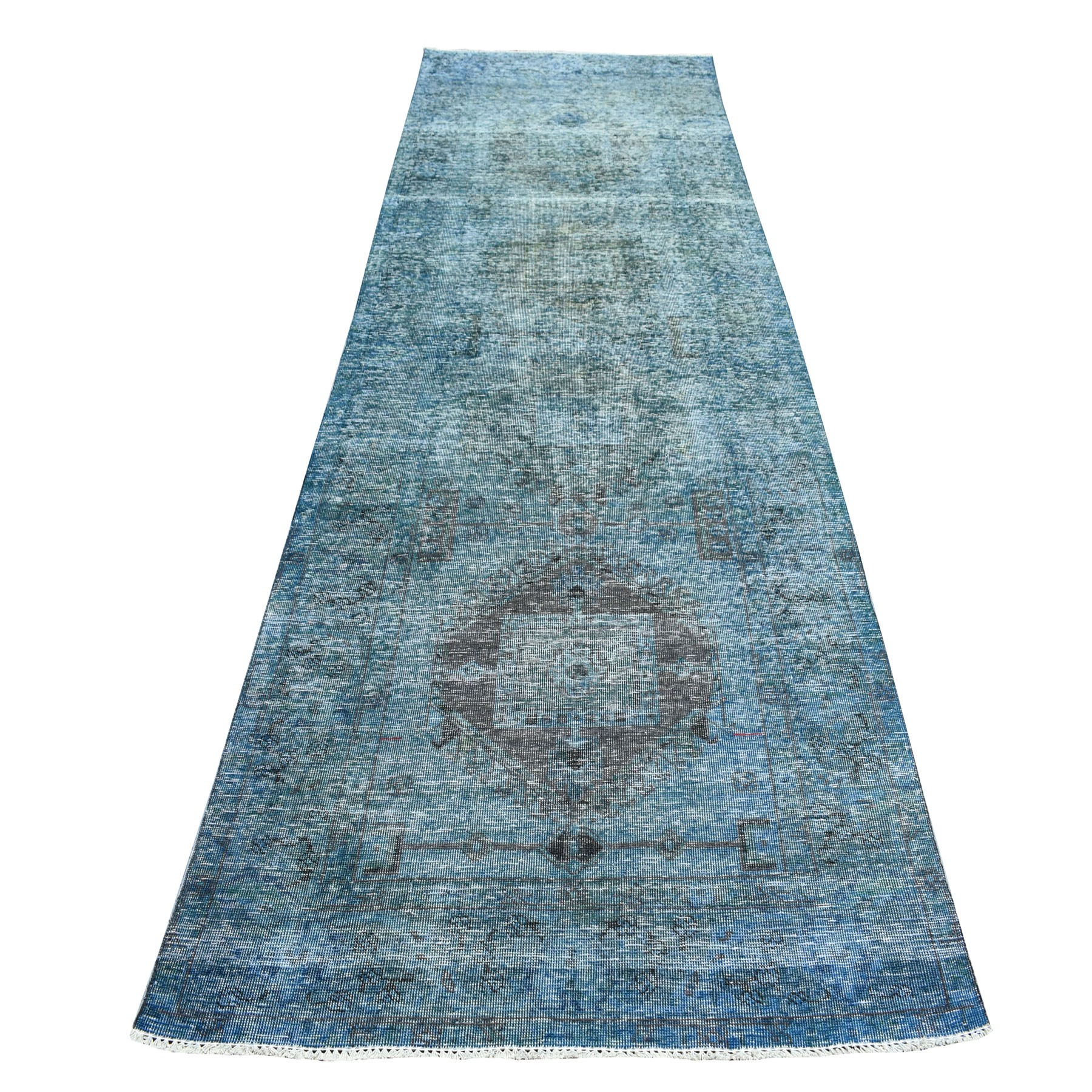 "4'3""X12'6"" Blue Vintage Persian Tabriz Worn Pile Wide Runner Hand Knotted Oriental Rug moaeba86"
