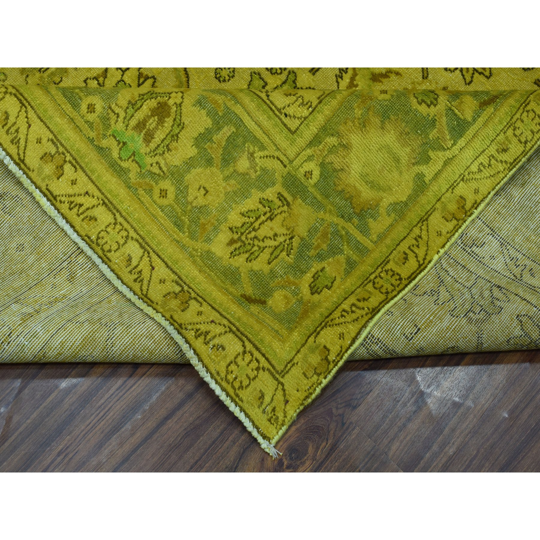 9-7 x12-2  Yellow Vintage Persian Worn Pile Hand Knotted Oriental Rug
